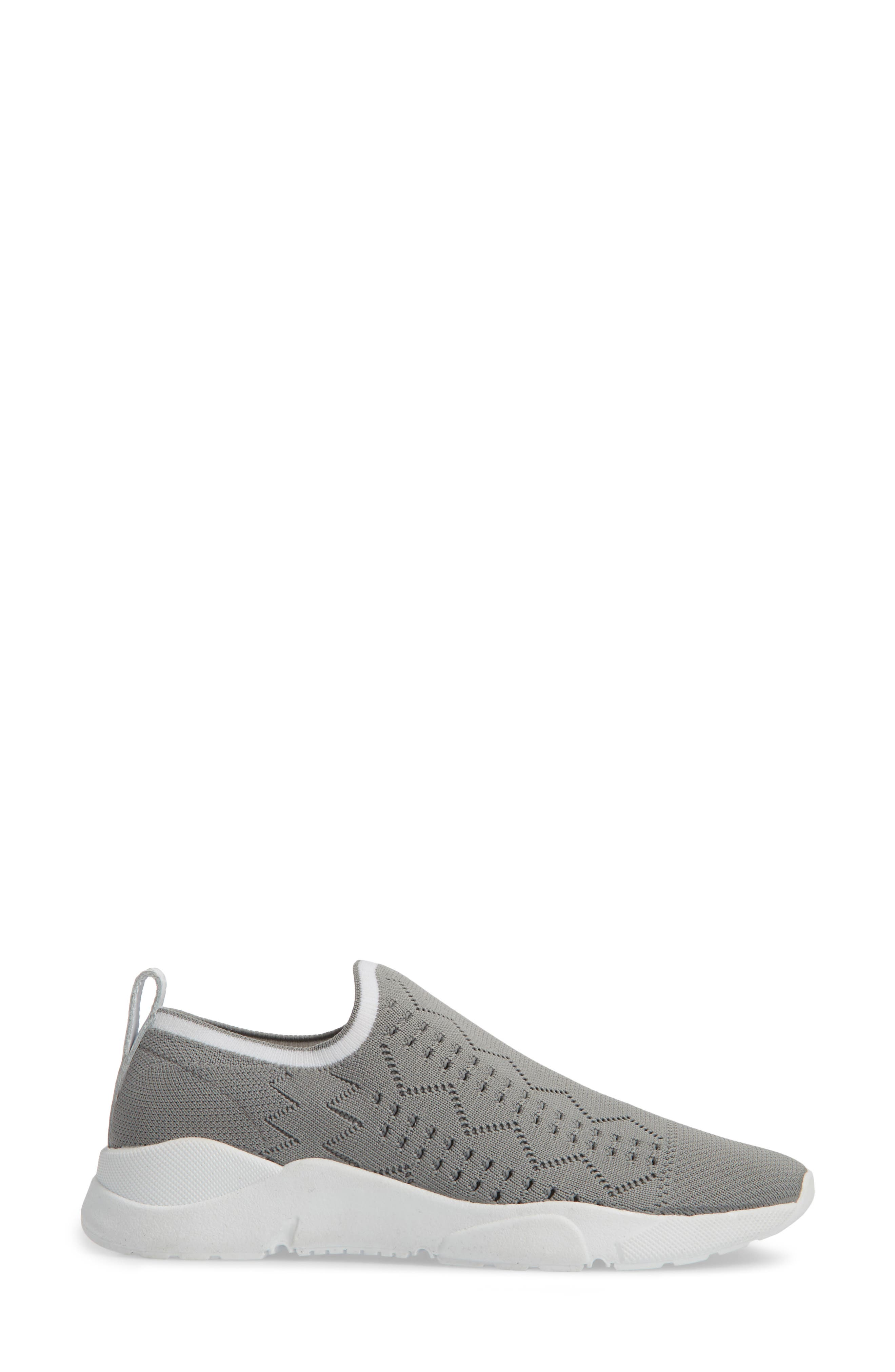 Karrie Slip-On Sneaker,                             Alternate thumbnail 3, color,                             Grey Stretch Fabric