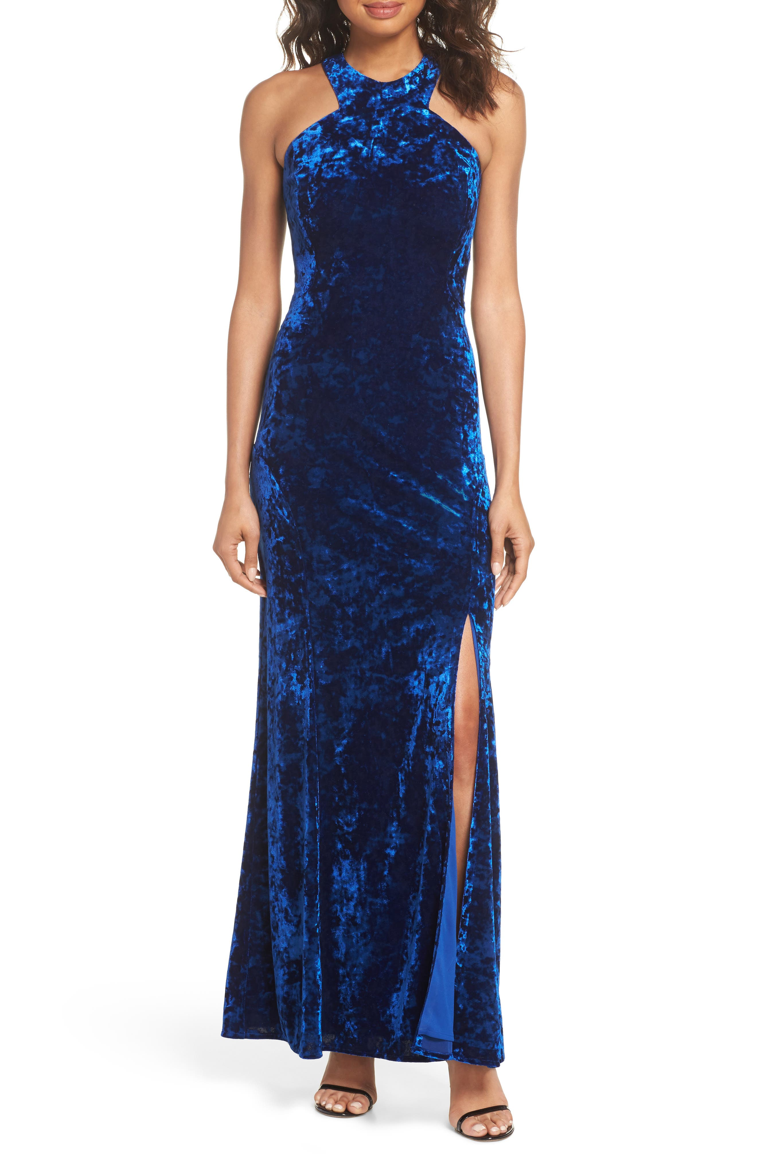 Cleo Strappy Back Velvet Gown,                             Main thumbnail 1, color,                             Sapphire