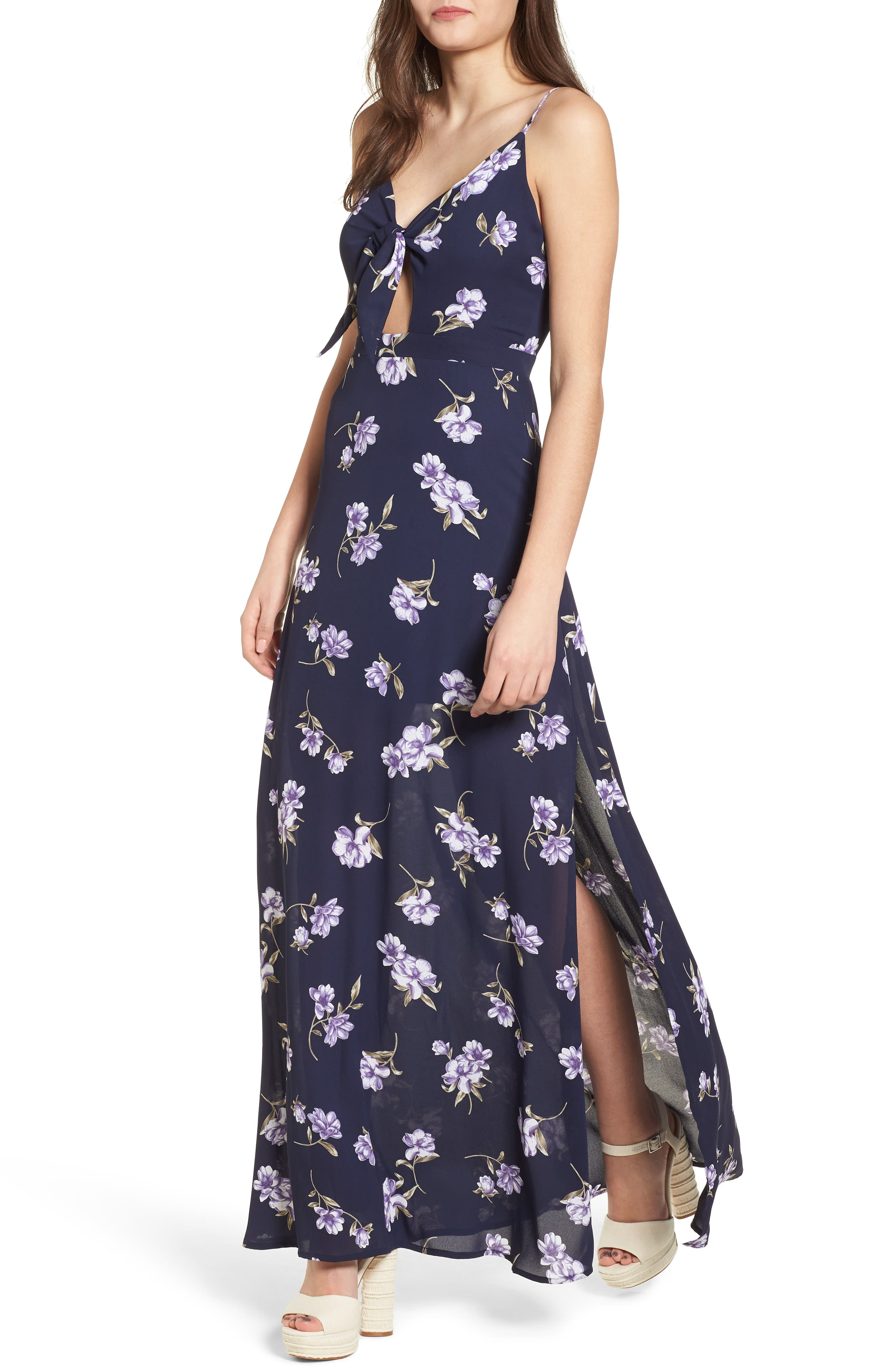 4SI3NNA Tie Front Maxi Dress