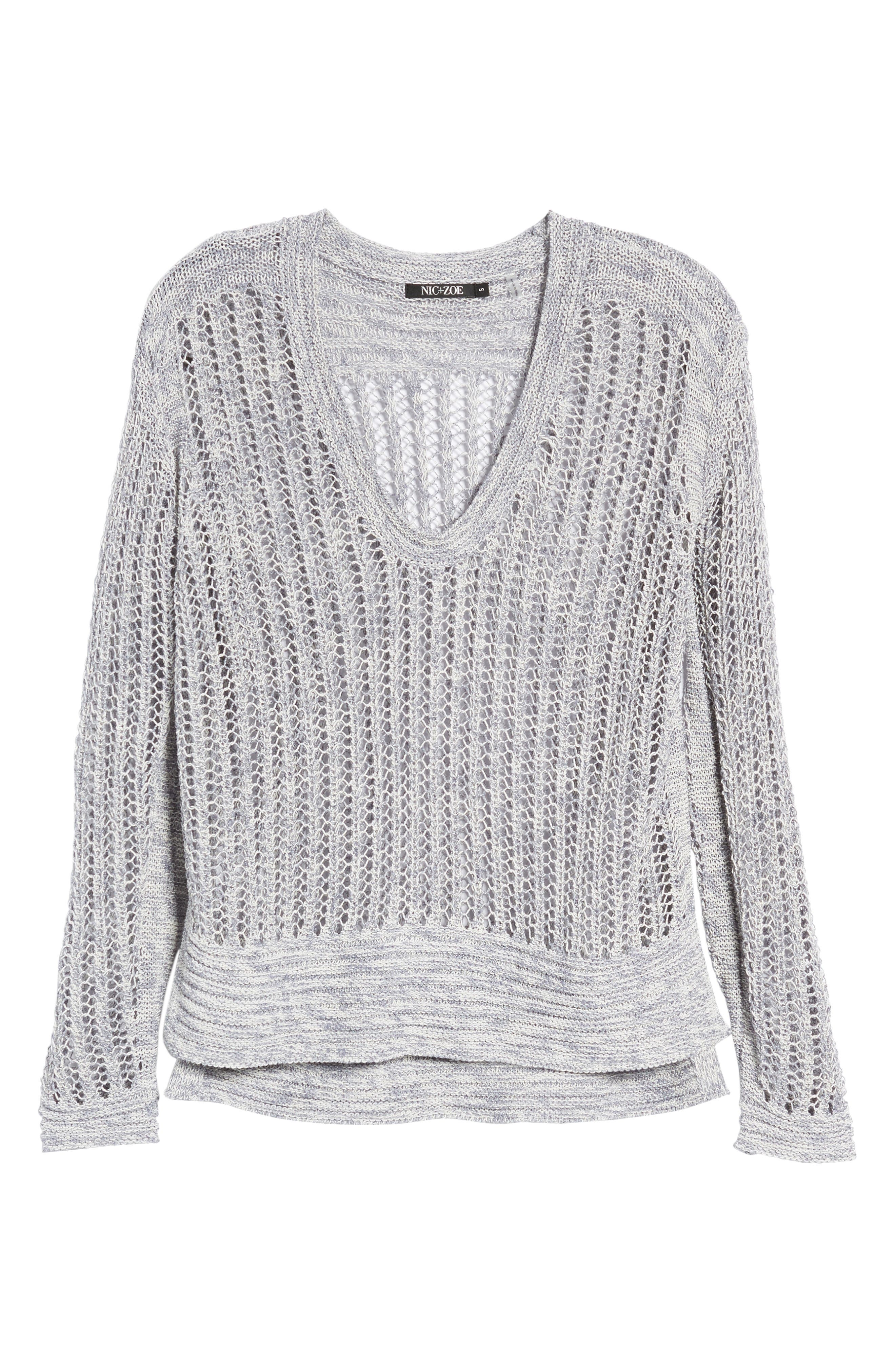 Open Stitch Sweater,                             Alternate thumbnail 6, color,                             Indigo Mix