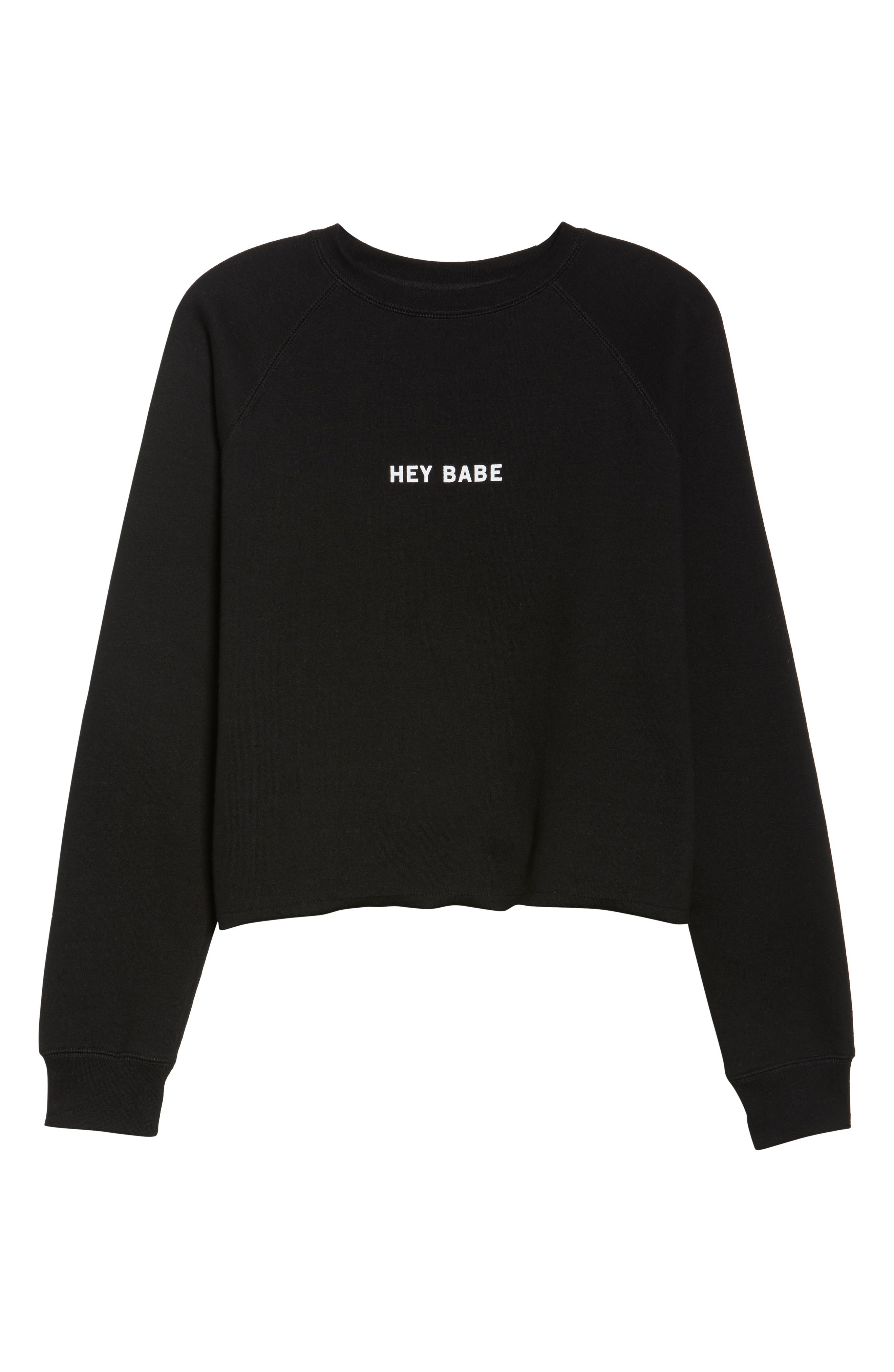Hey Babe Sweatshirt,                             Alternate thumbnail 4, color,                             Black