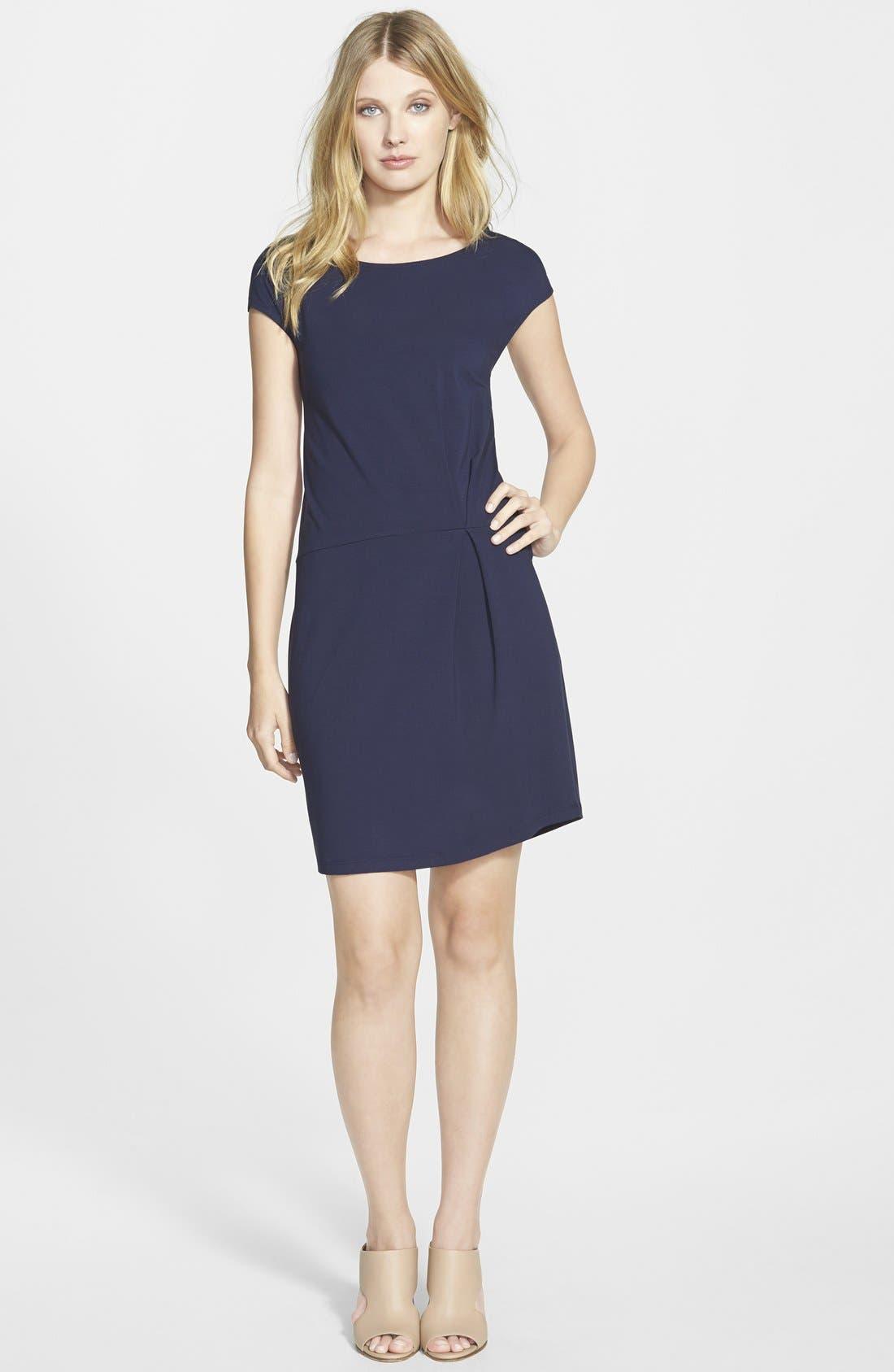 Alternate Image 1 Selected - Eileen Fisher Wide Neck Jersey Shift Dress (Regular & Petite) (Online Only)