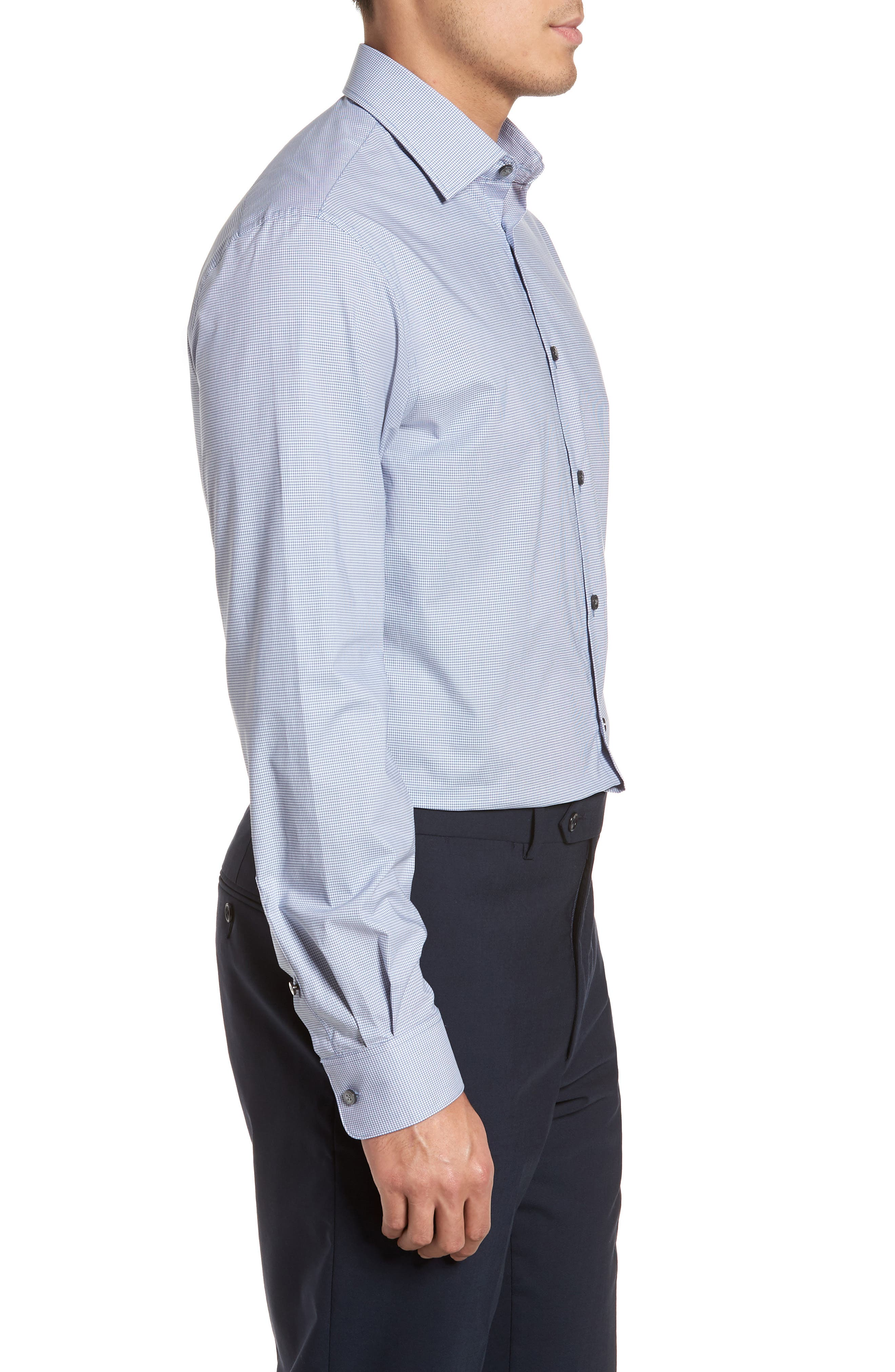 Regular Fit Stretch Microcheck Dress Shirt,                             Alternate thumbnail 4, color,                             Dusted Blue