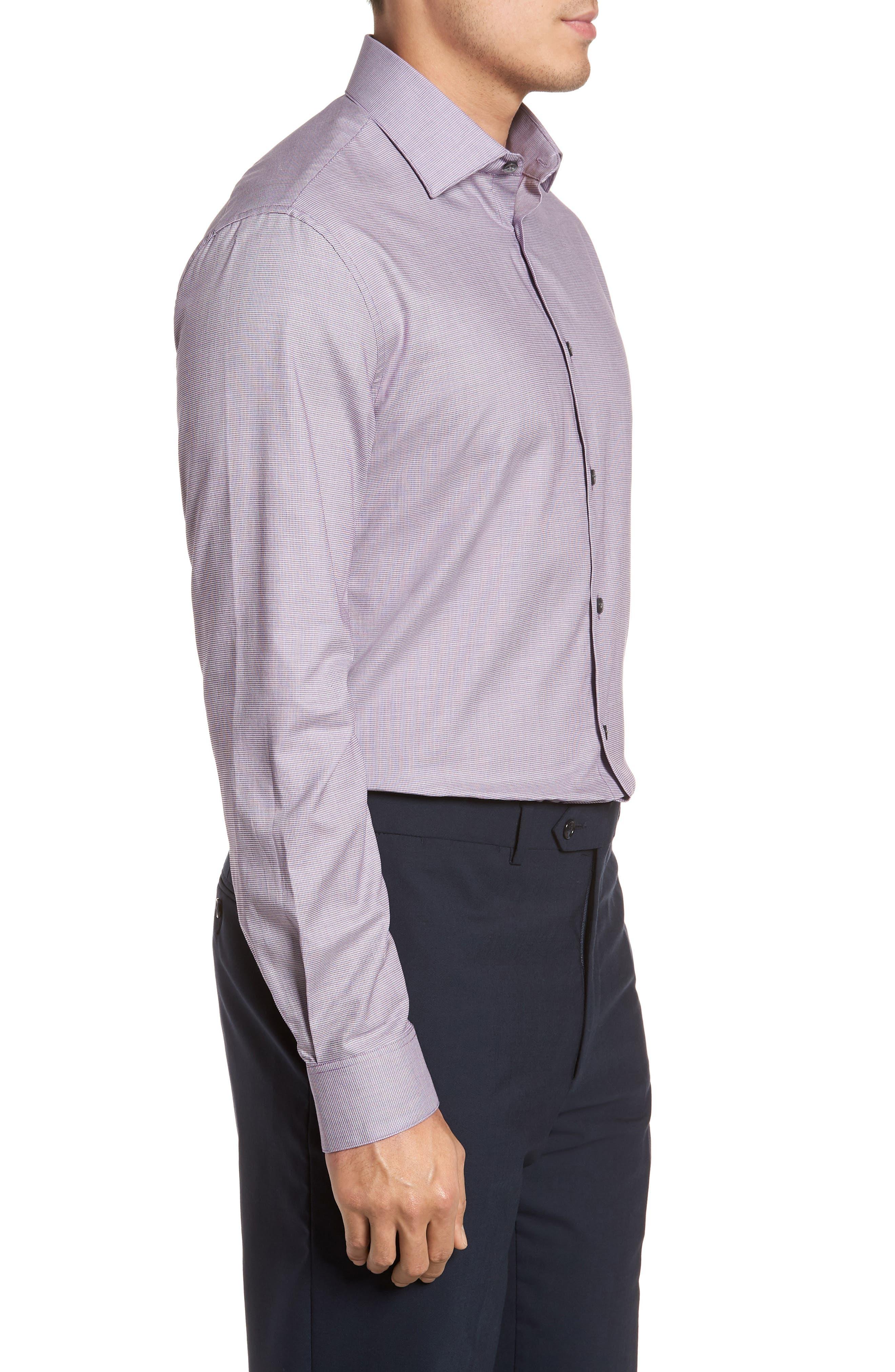 Slim Fit Stretch Microdot Dress Shirt,                             Alternate thumbnail 4, color,                             Purple