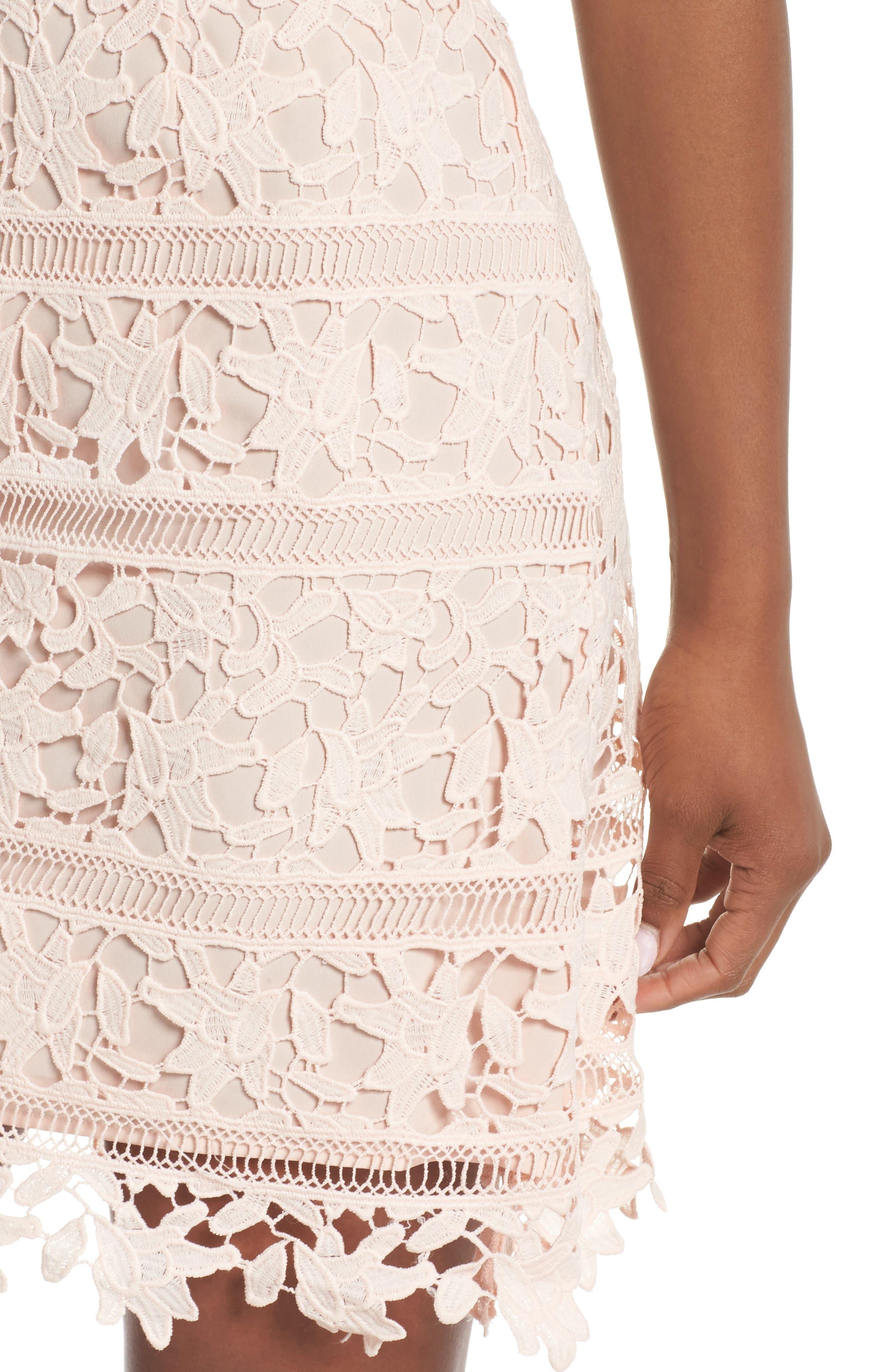 Crochet Overlay Dress,                             Alternate thumbnail 9, color,                             Blush