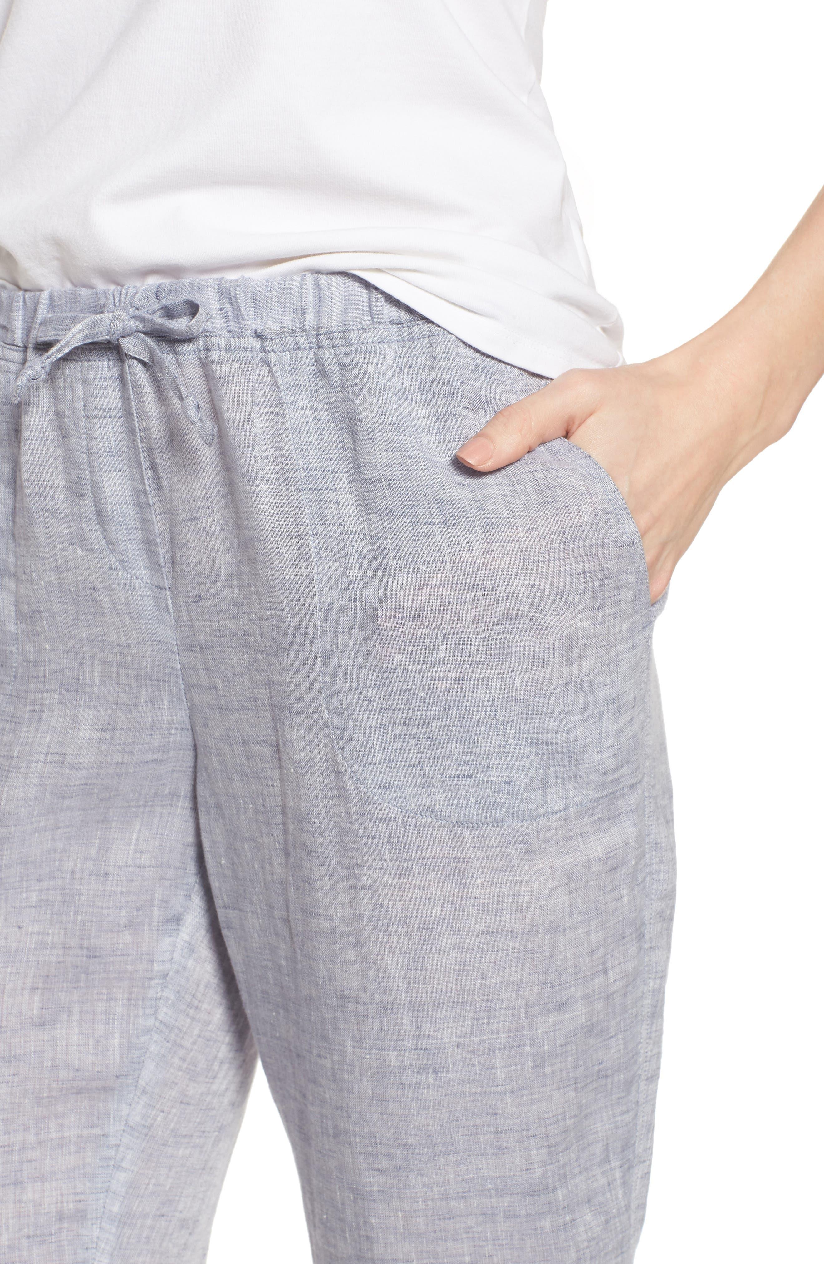 Laid Back Linen Pants,                             Alternate thumbnail 4, color,                             Indigo Mix