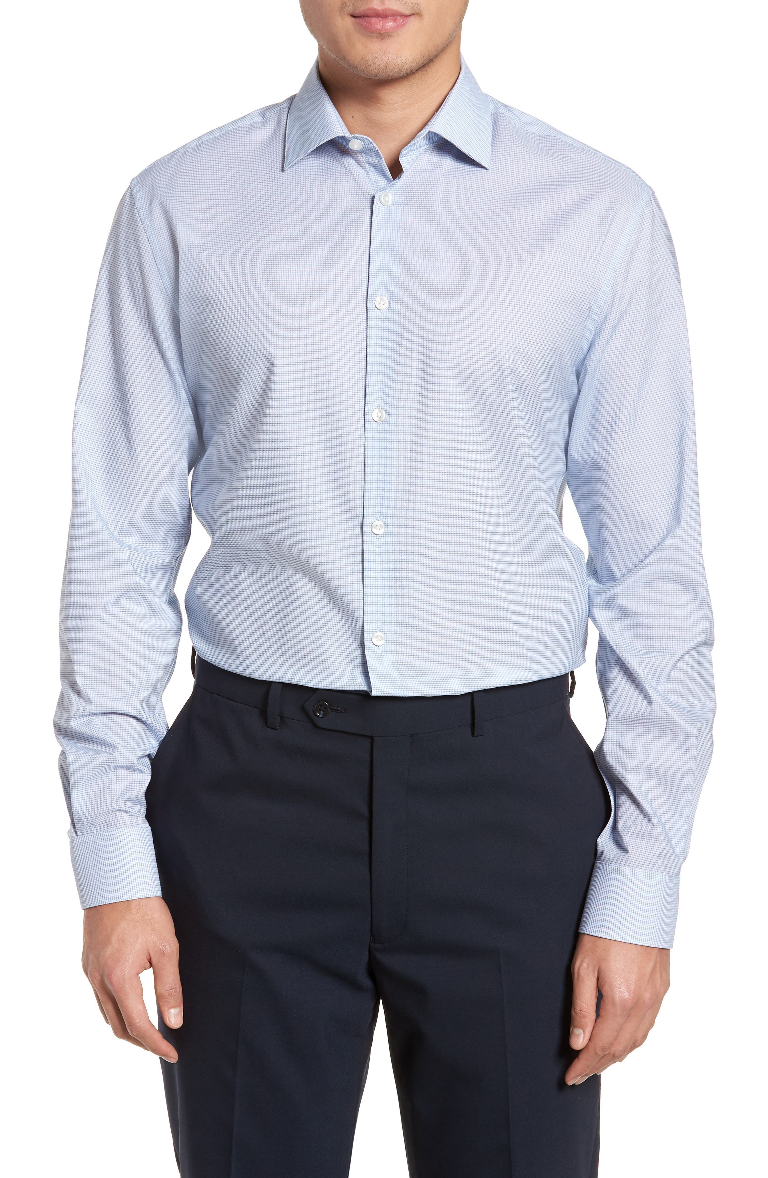 Slim Fit Stretch Microcheck Dress Shirt,                         Main,                         color, Icicle Blue