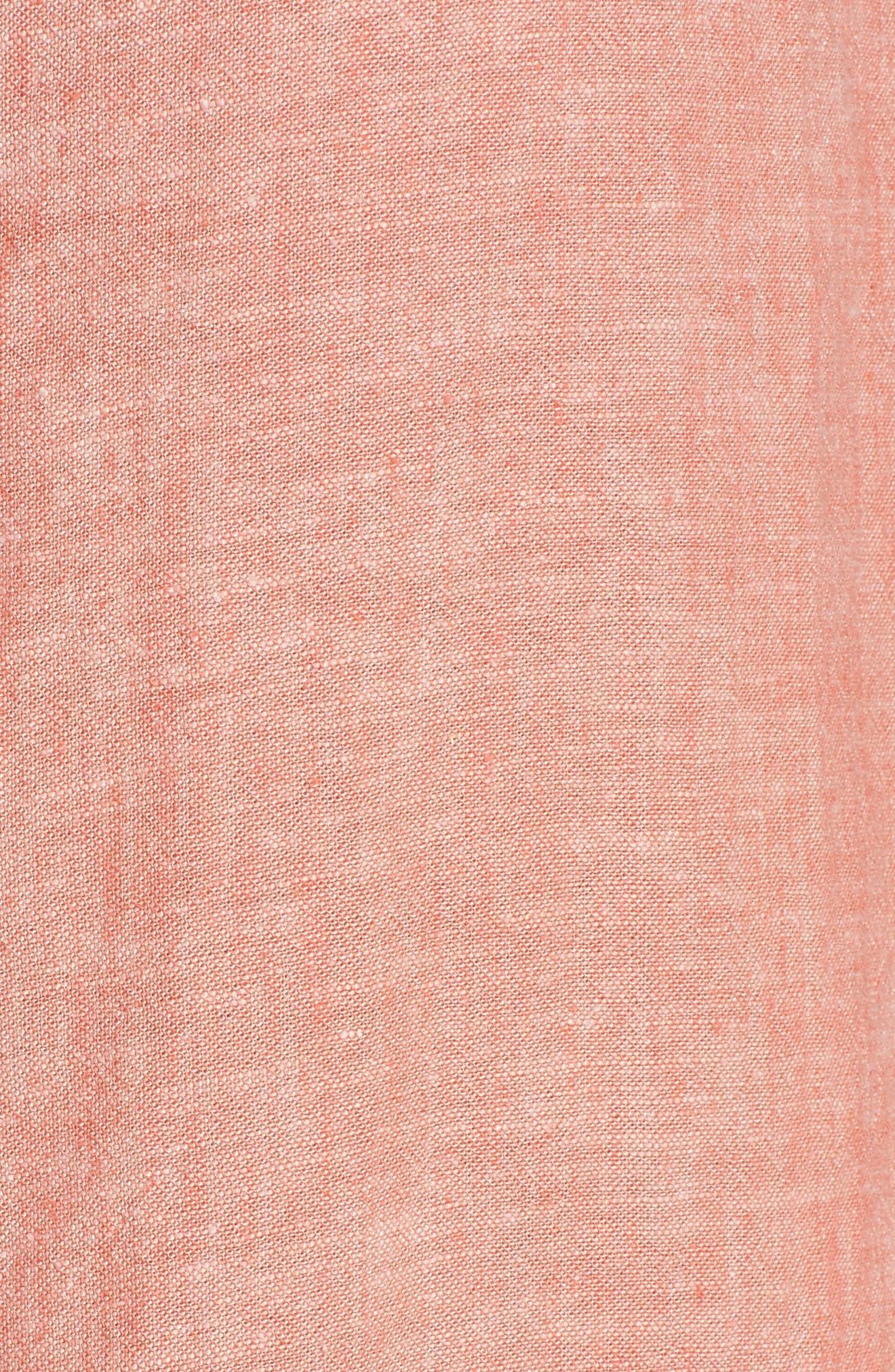 Tie Front Linen Blend Tank,                             Alternate thumbnail 6, color,                             Coral Ocean