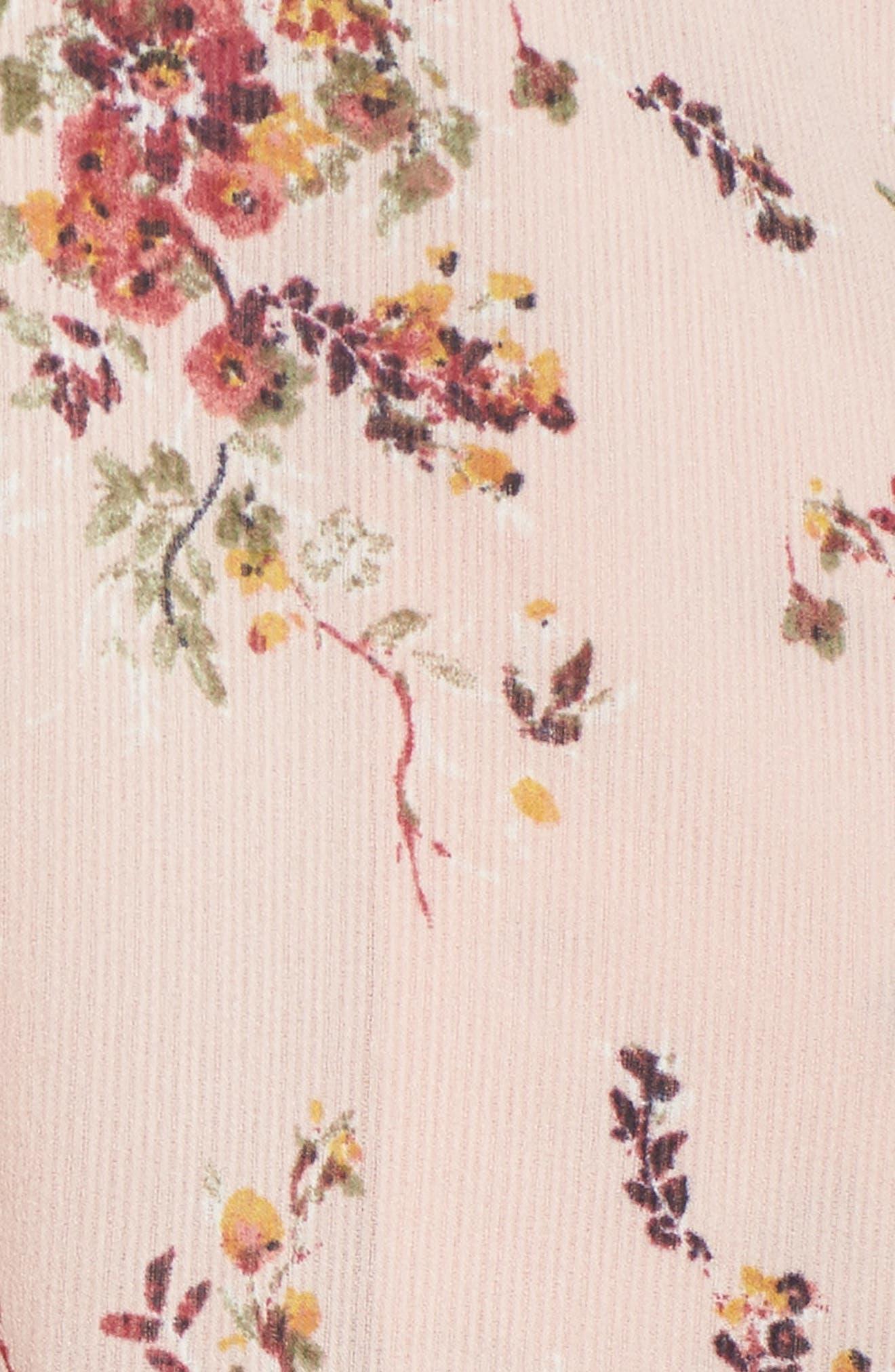 Atwater Village Midi Dress,                             Alternate thumbnail 5, color,                             Blush Vintage Bouquet