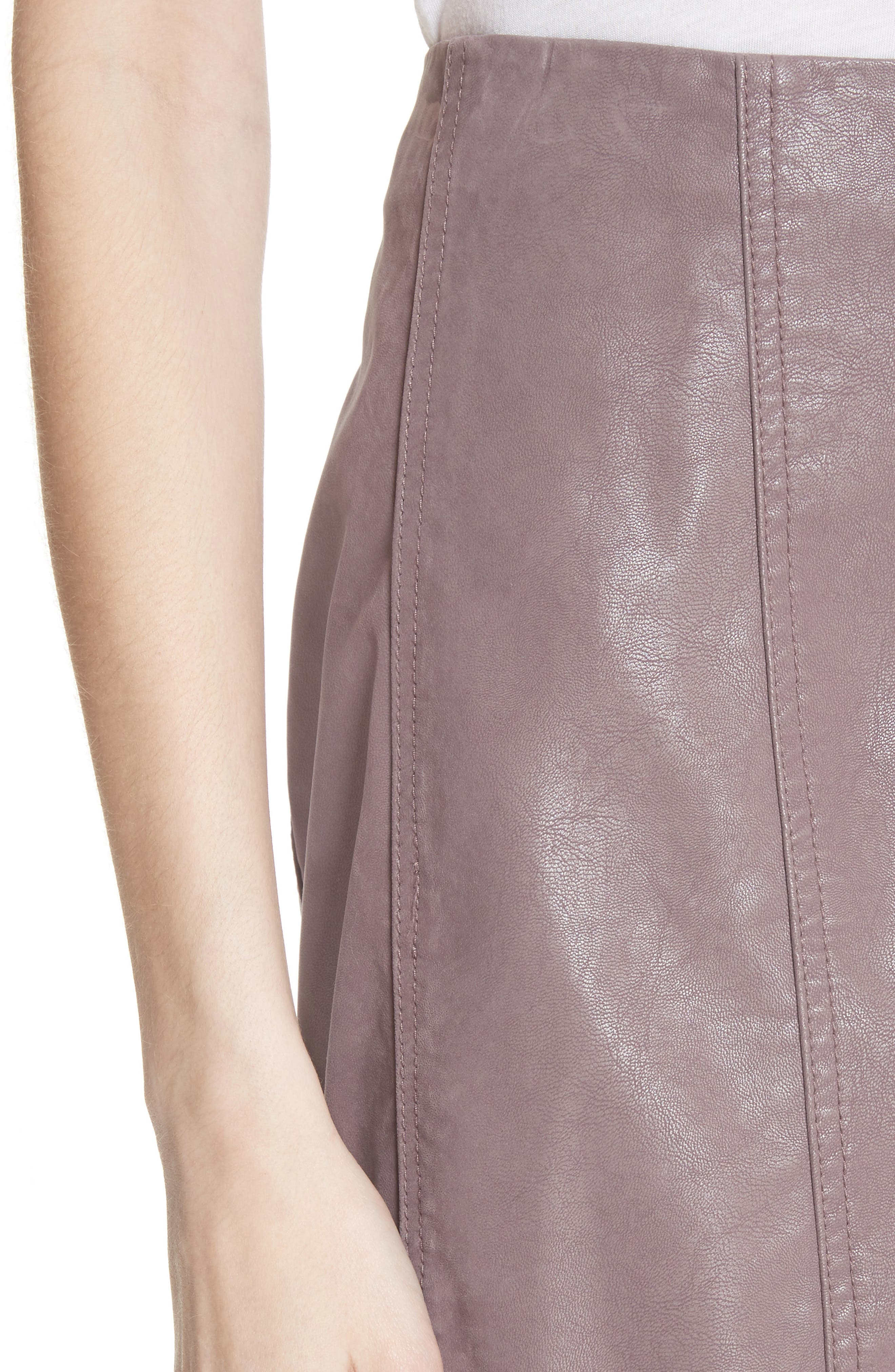 Faux Leather Miniskirt,                             Alternate thumbnail 4, color,                             Mauve