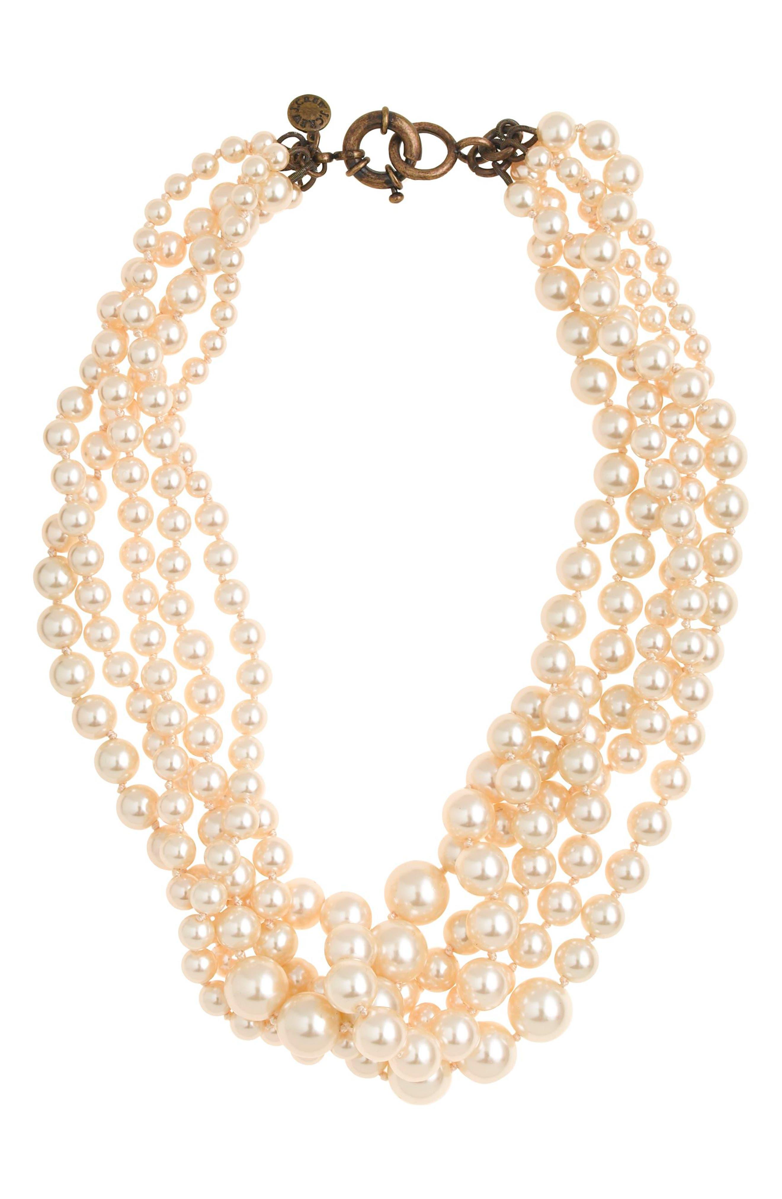 Imitation Pearl Hammock Necklace,                         Main,                         color, Pearl