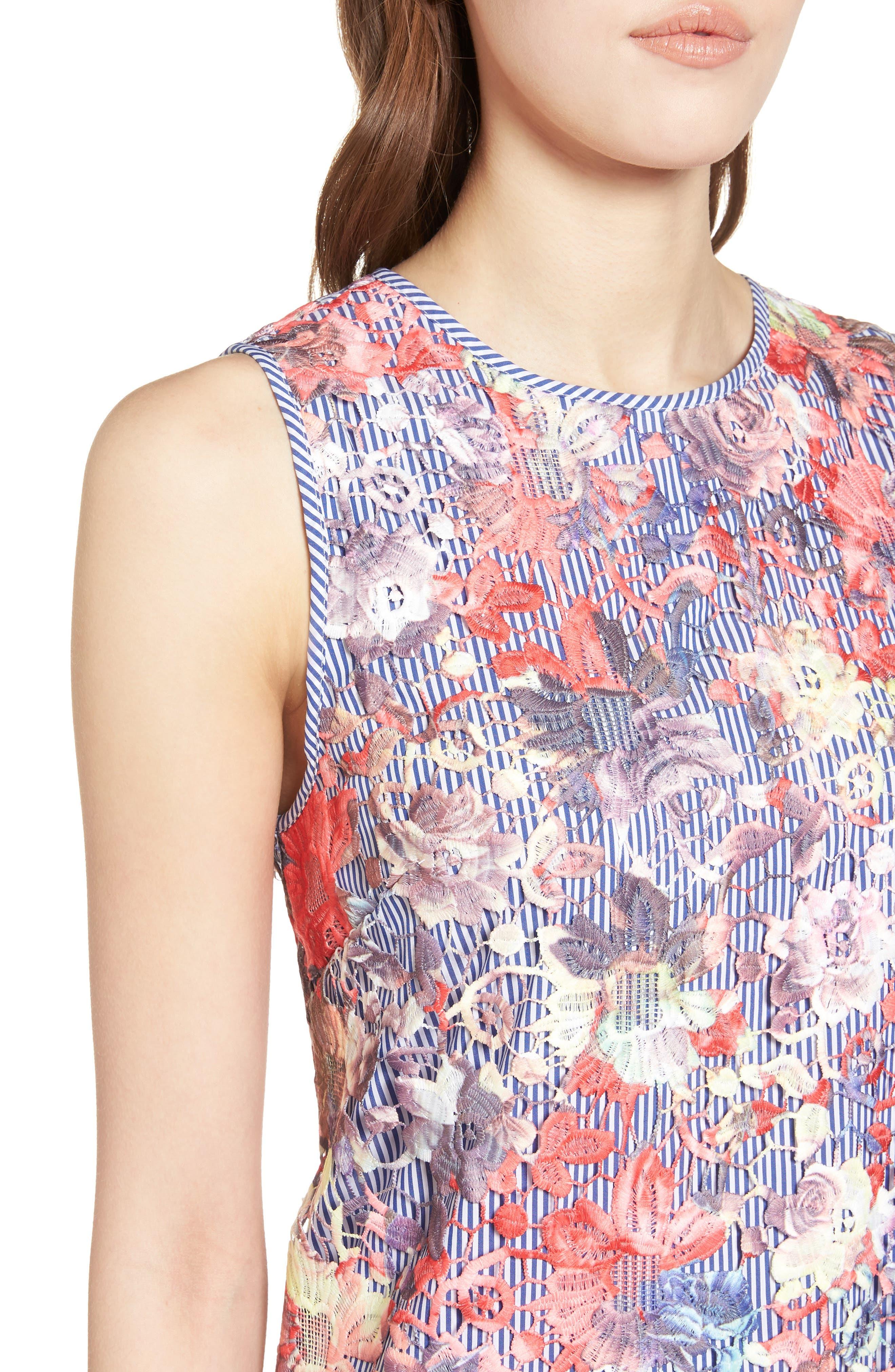 Lace Pinstripe Tank Dress,                             Alternate thumbnail 4, color,                             Coral Lace Pattern