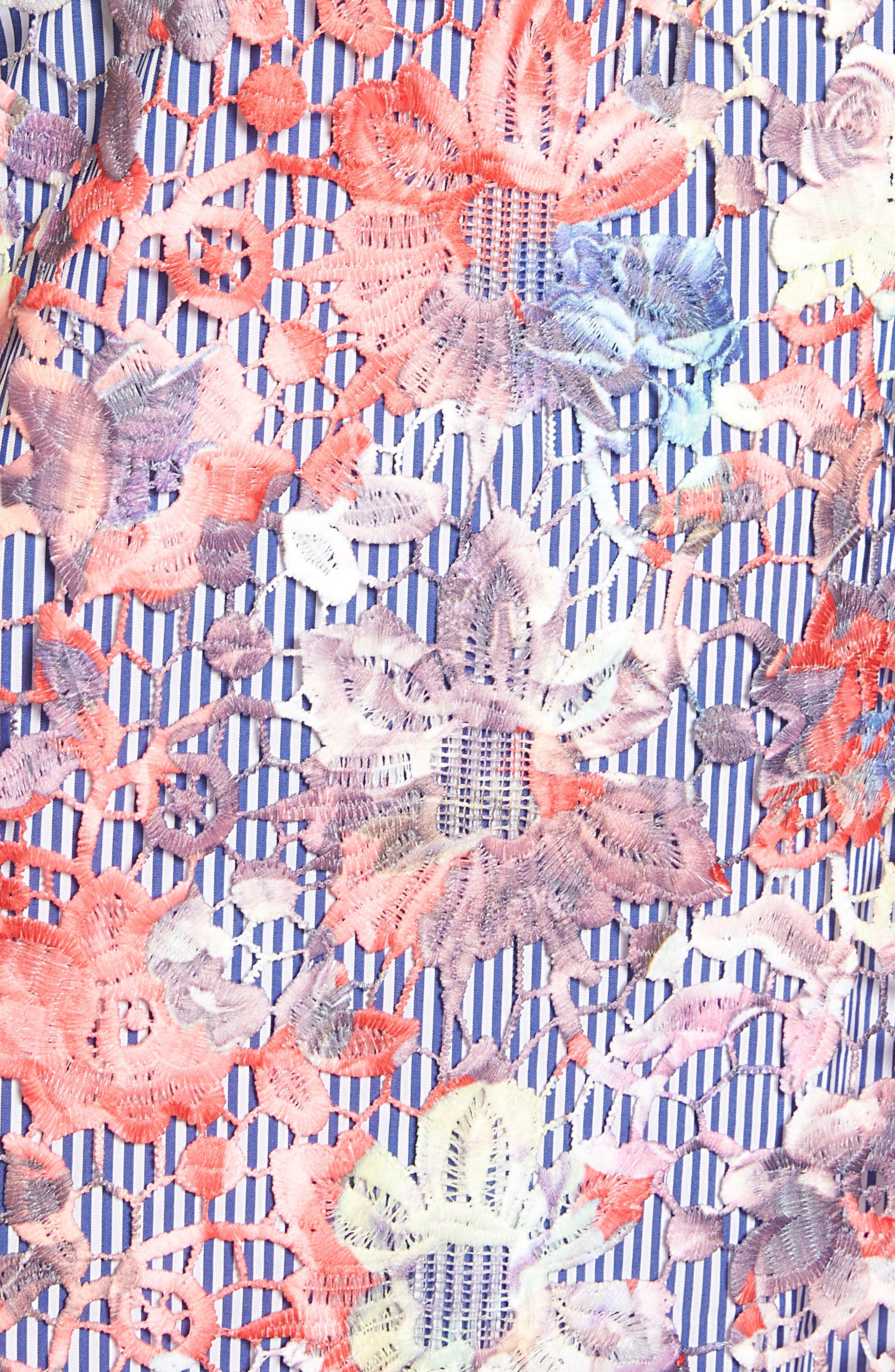 Lace Pinstripe Tank Dress,                             Alternate thumbnail 5, color,                             Coral Lace Pattern