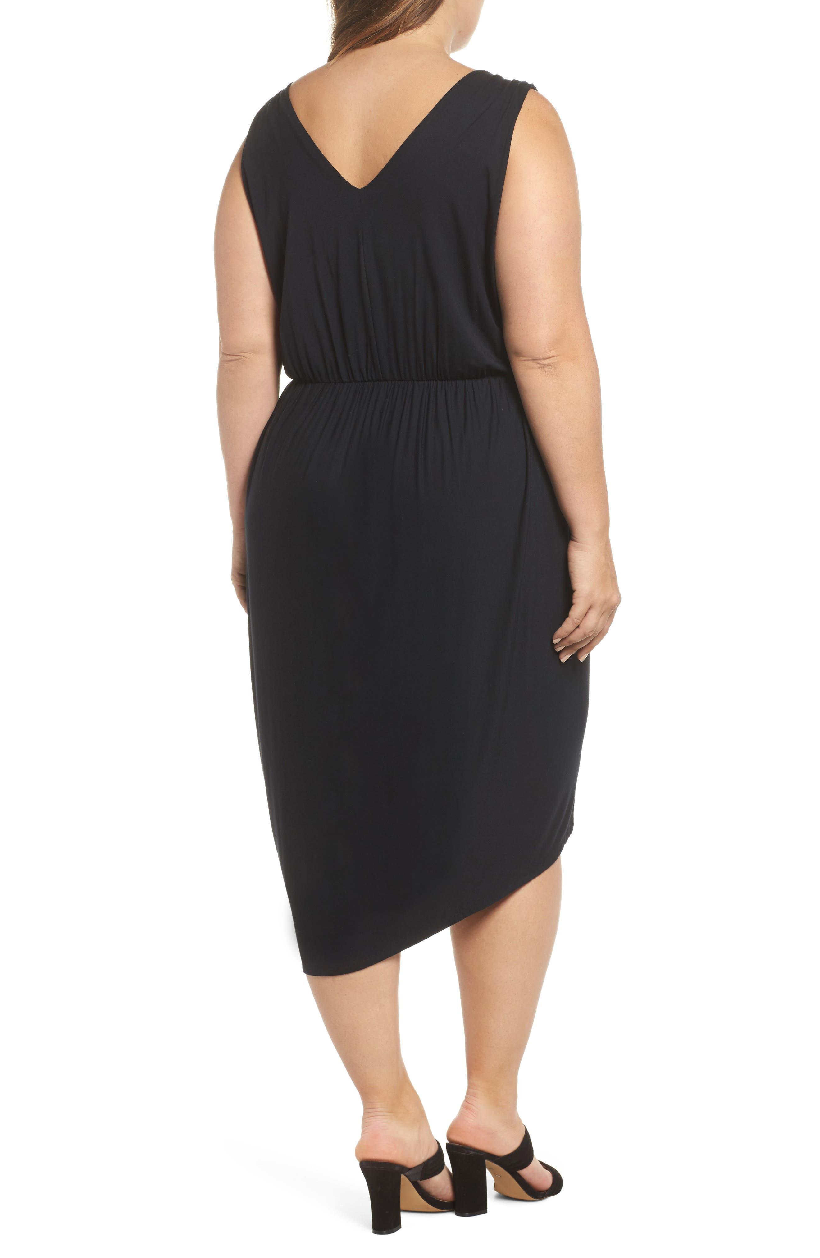 Drape Surplice Jersey Midi Dress,                             Alternate thumbnail 2, color,                             Black