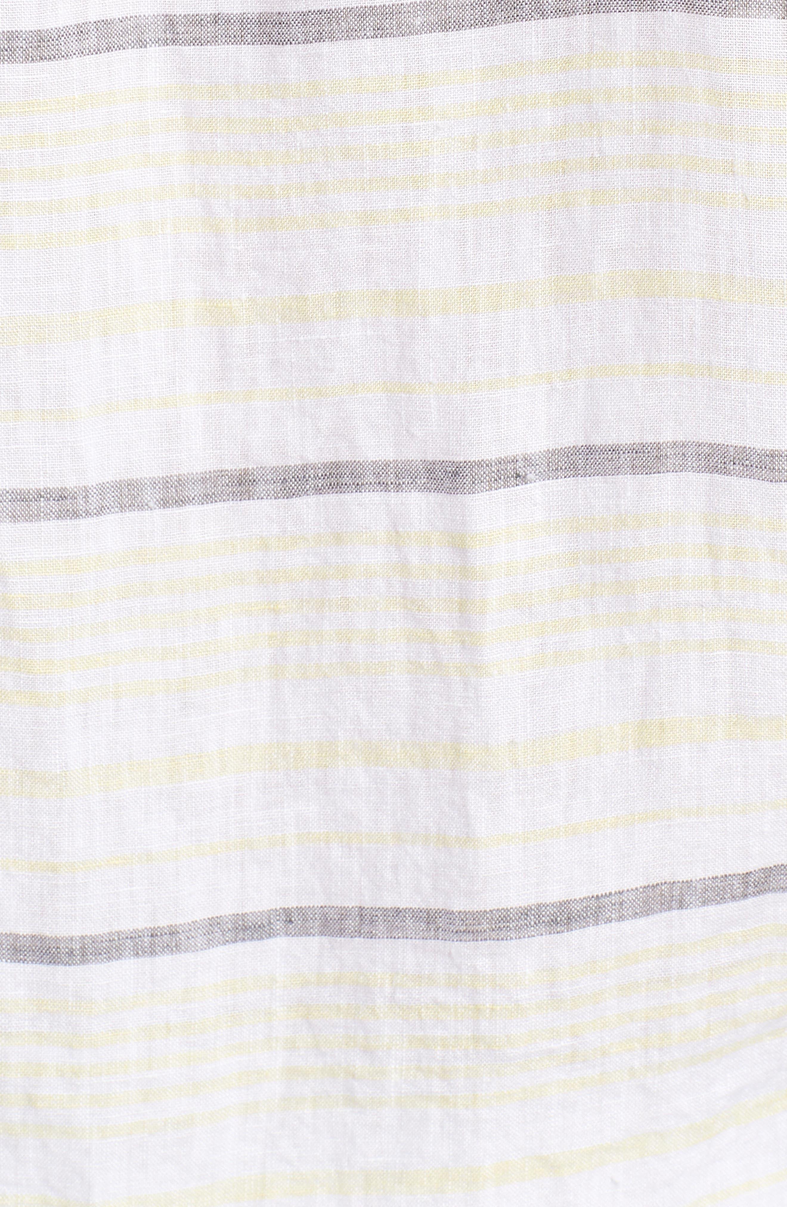 Stripe Linen Sport Shirt,                             Alternate thumbnail 5, color,                             Pale Lemon
