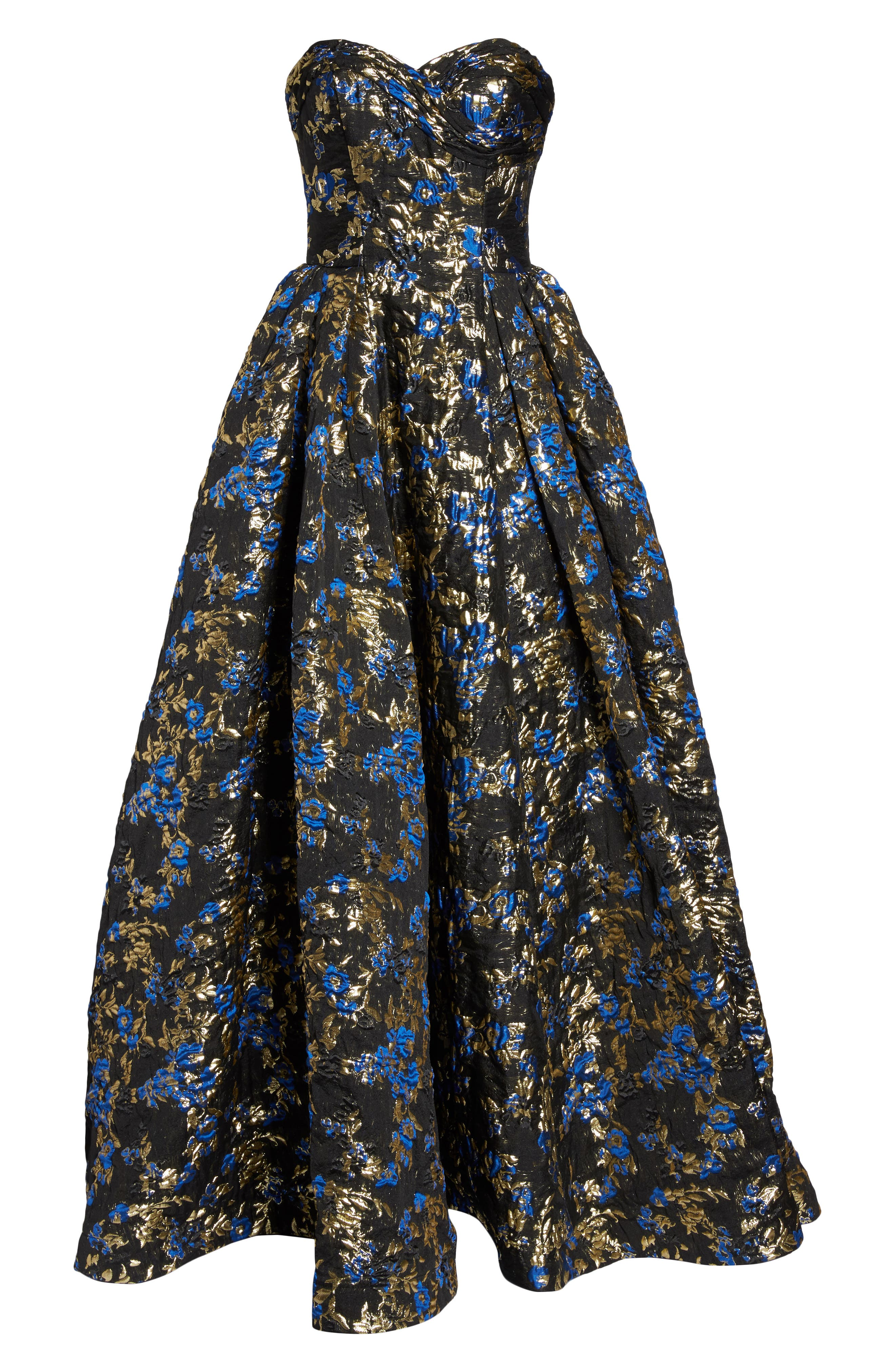 Brocade Bustier Gown,                             Alternate thumbnail 6, color,                             Royal/ Black