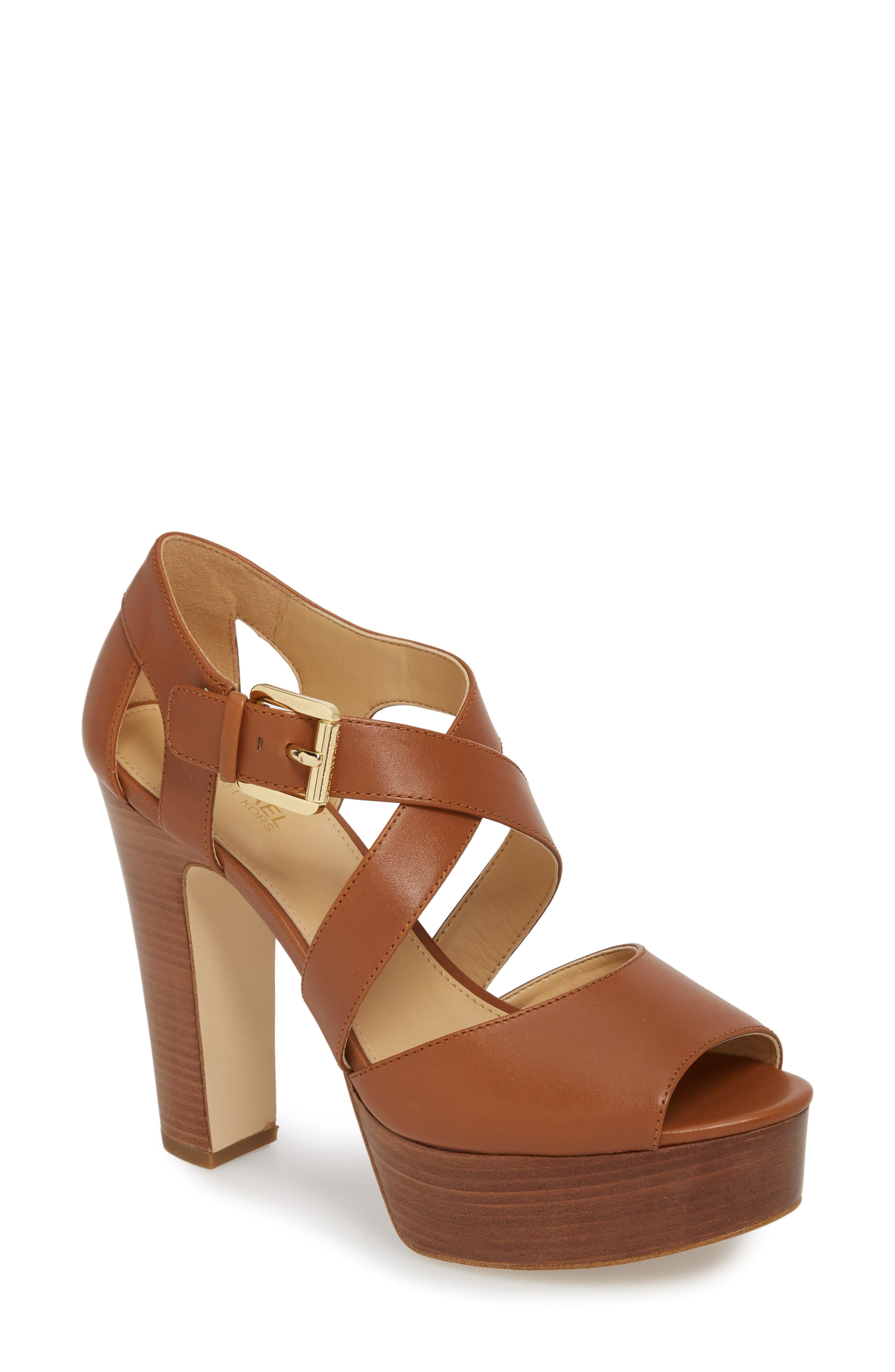 MICHAEL Michael Kors SANDRA PLATFORM - High heeled sandals - terra nczSBxrhWZ