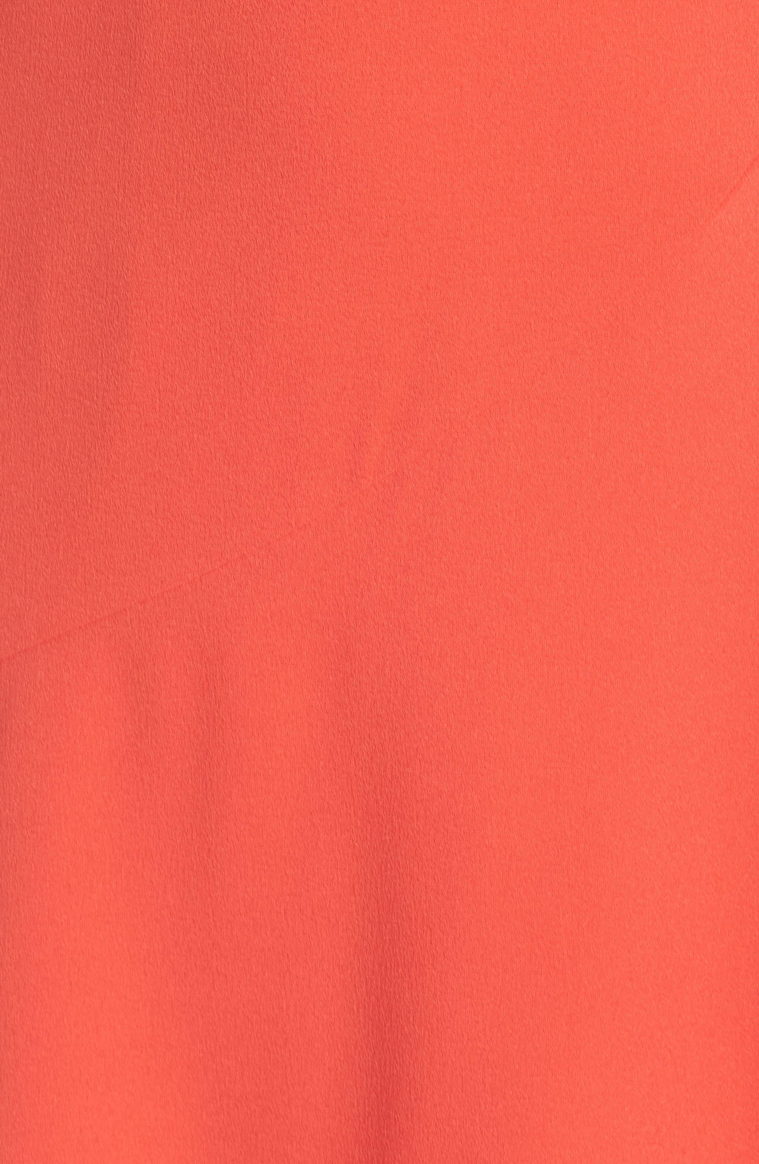 Crepe Surplice Dress,                             Alternate thumbnail 5, color,                             Coral