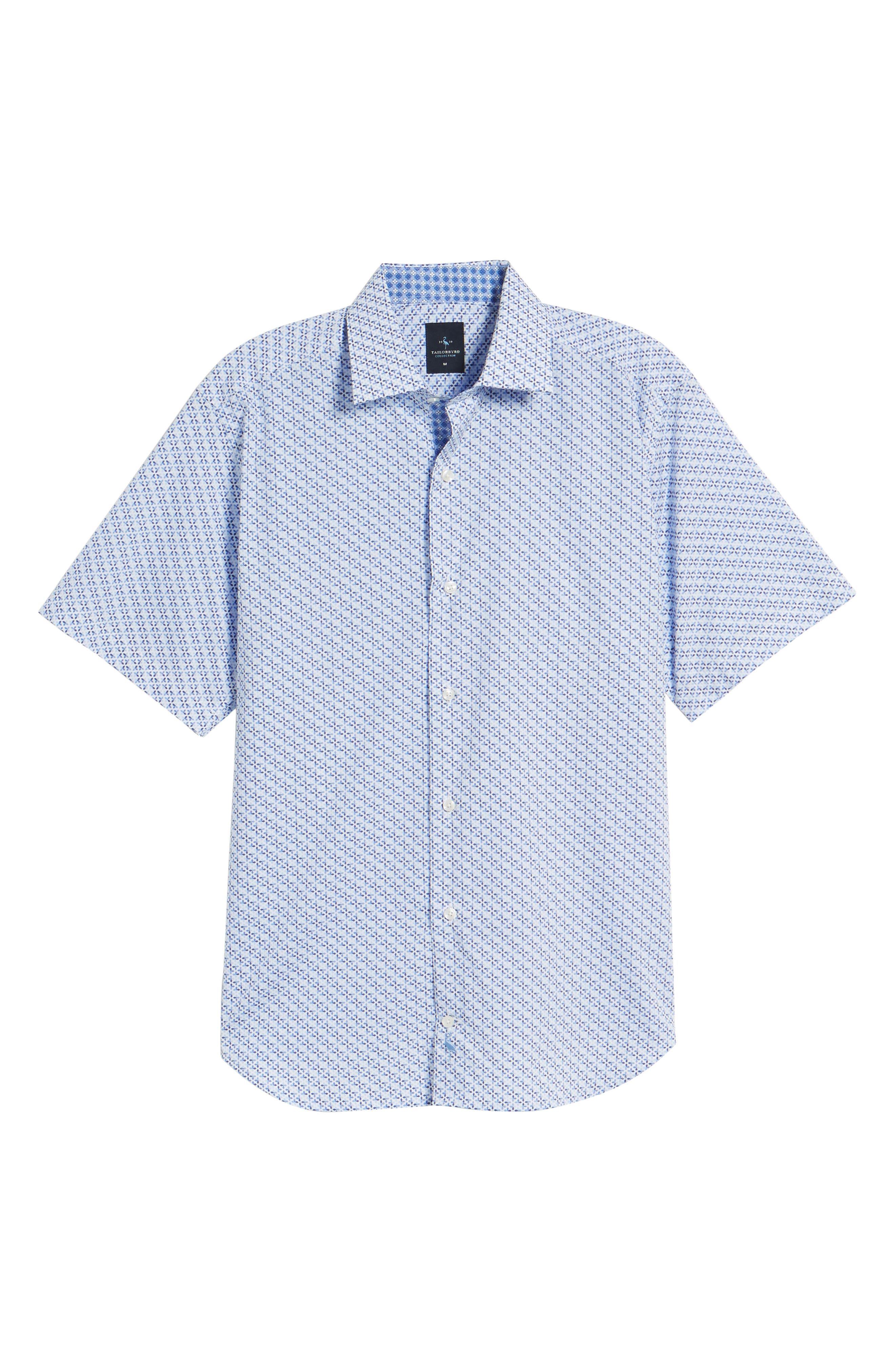 Shiloh Regular Fit Print Sport Shirt,                             Alternate thumbnail 6, color,                             Light Blue