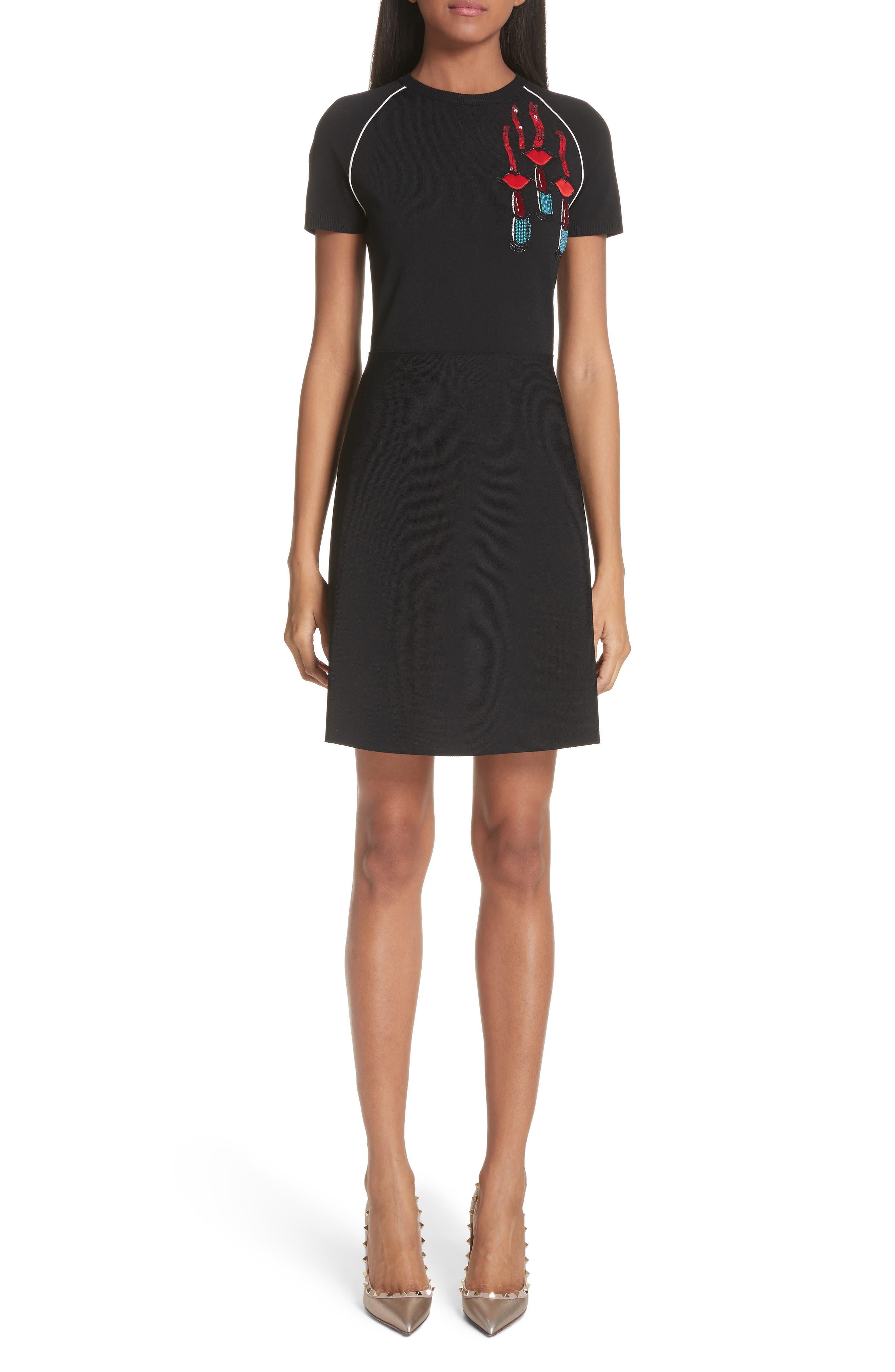Lipstick Embellished A-Line Dress,                         Main,                         color, Black