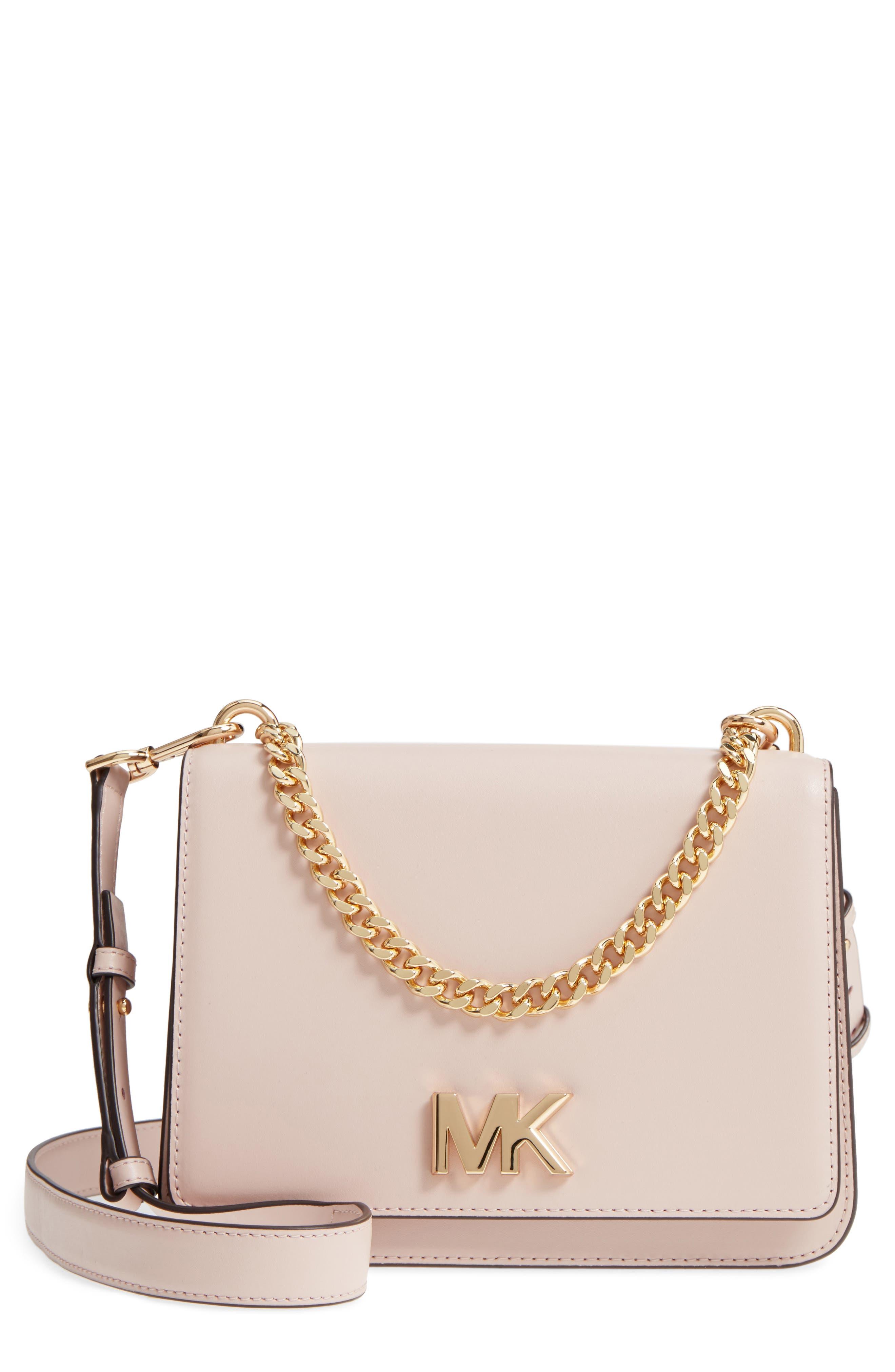 Large Mott Chain Swag Leather Shoulder Bag,                         Main,                         color, Soft Pink