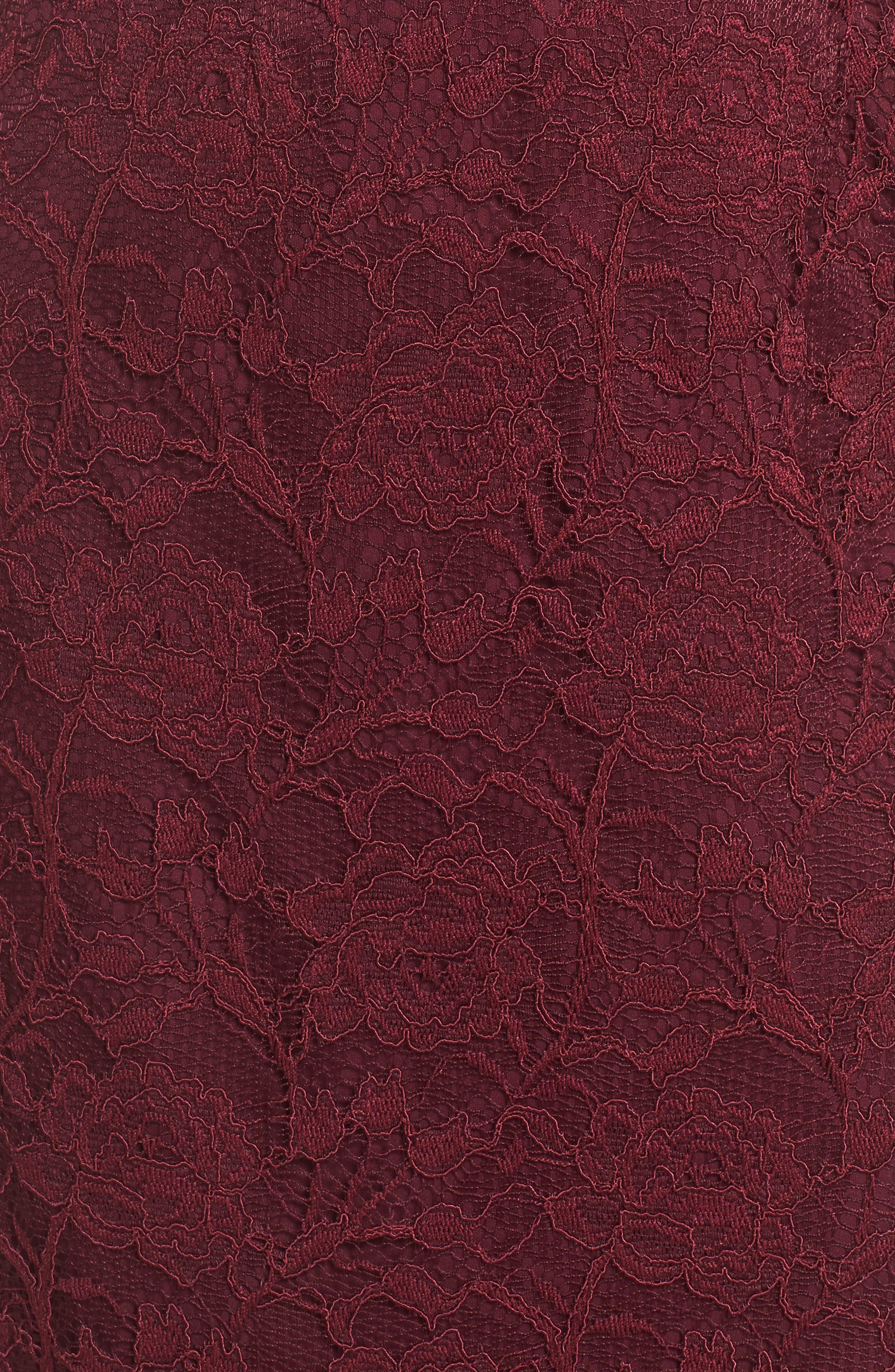 Rose Lace Sheath Dress,                             Alternate thumbnail 5, color,                             Cabernet