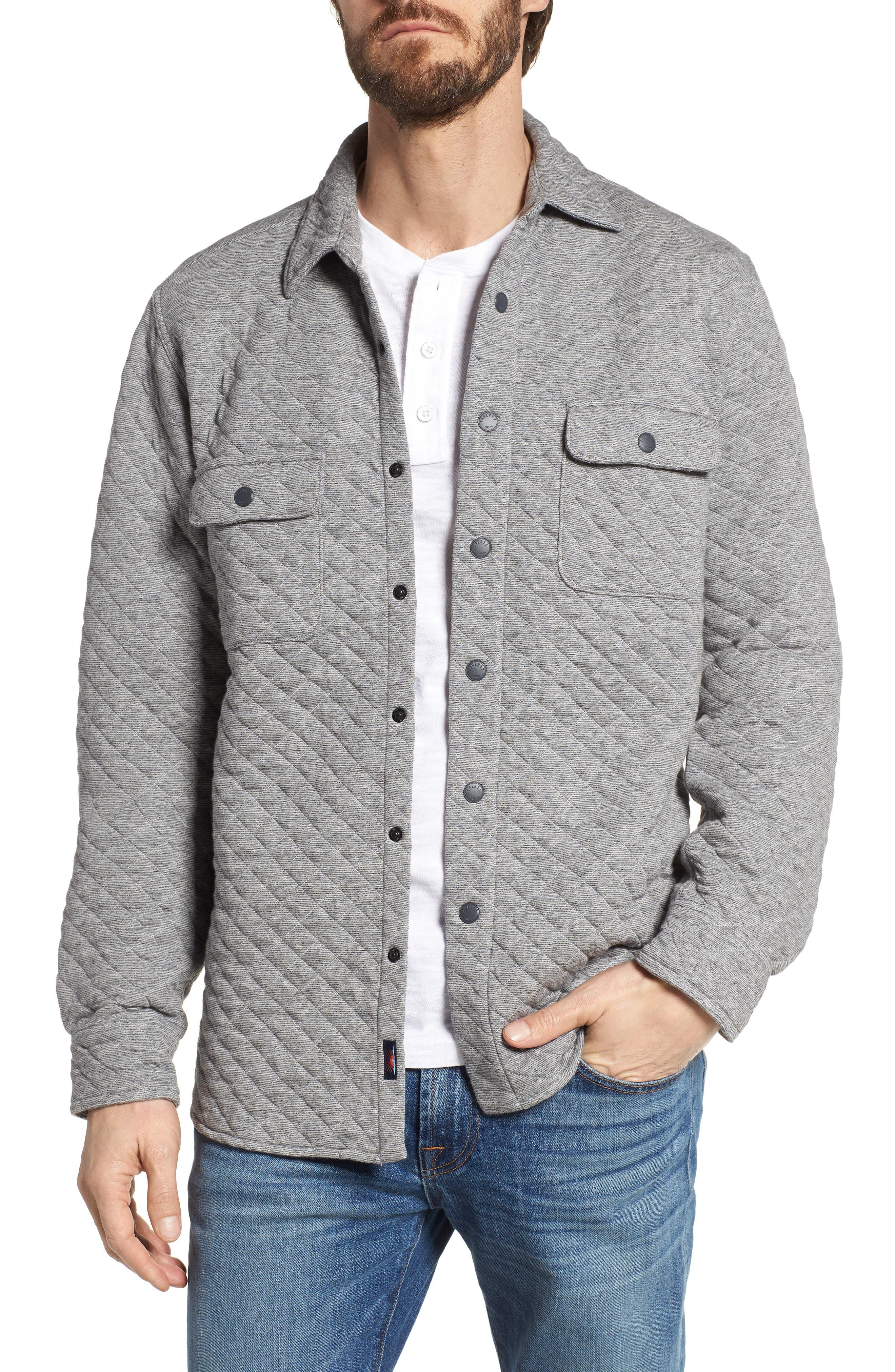 Belmar Quilted Snap Shirt Jacket,                         Main,                         color, Grey Feeder Stripe