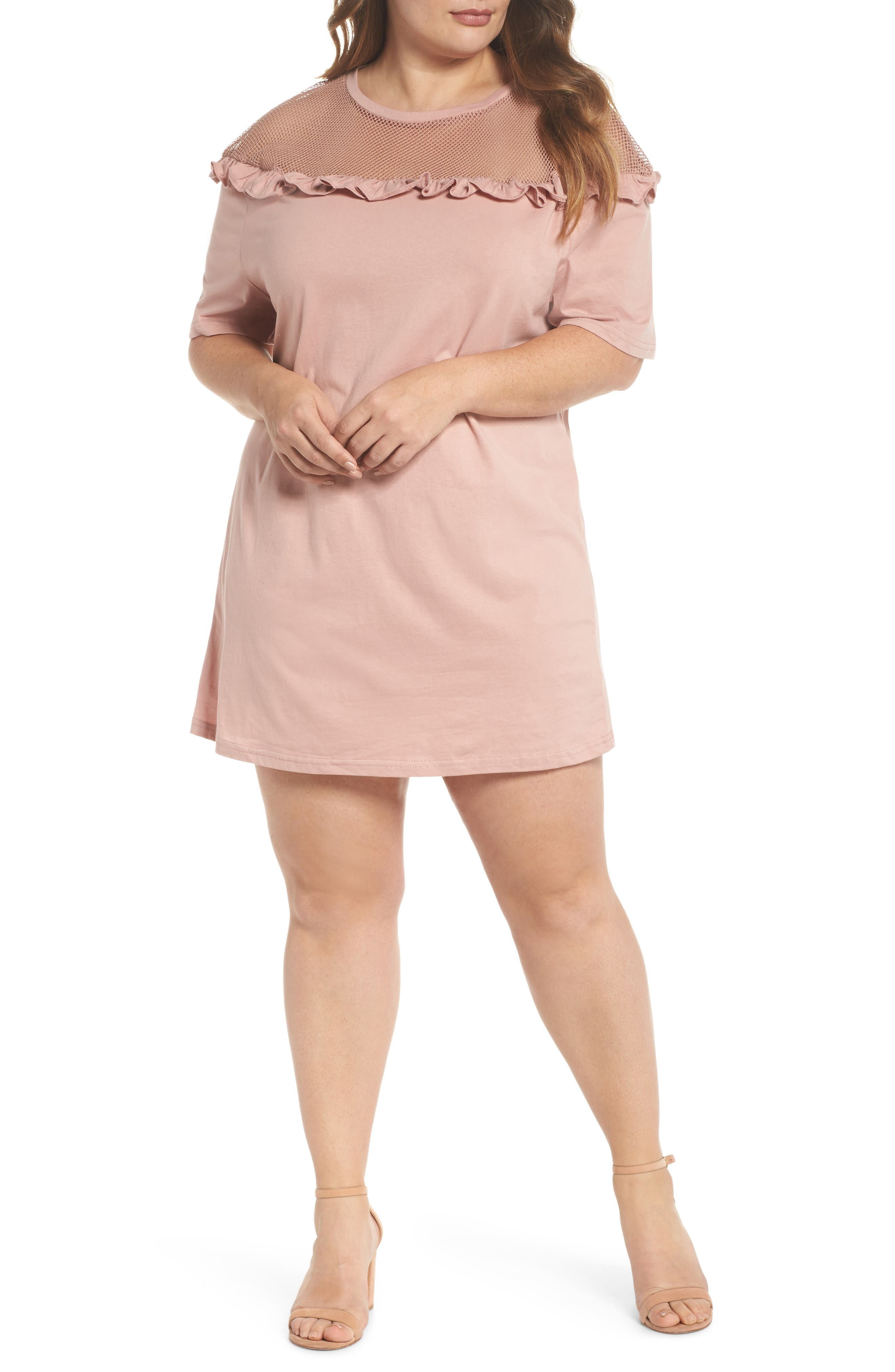 Illusion Neck Shift Dress,                         Main,                         color, Dusty Pink