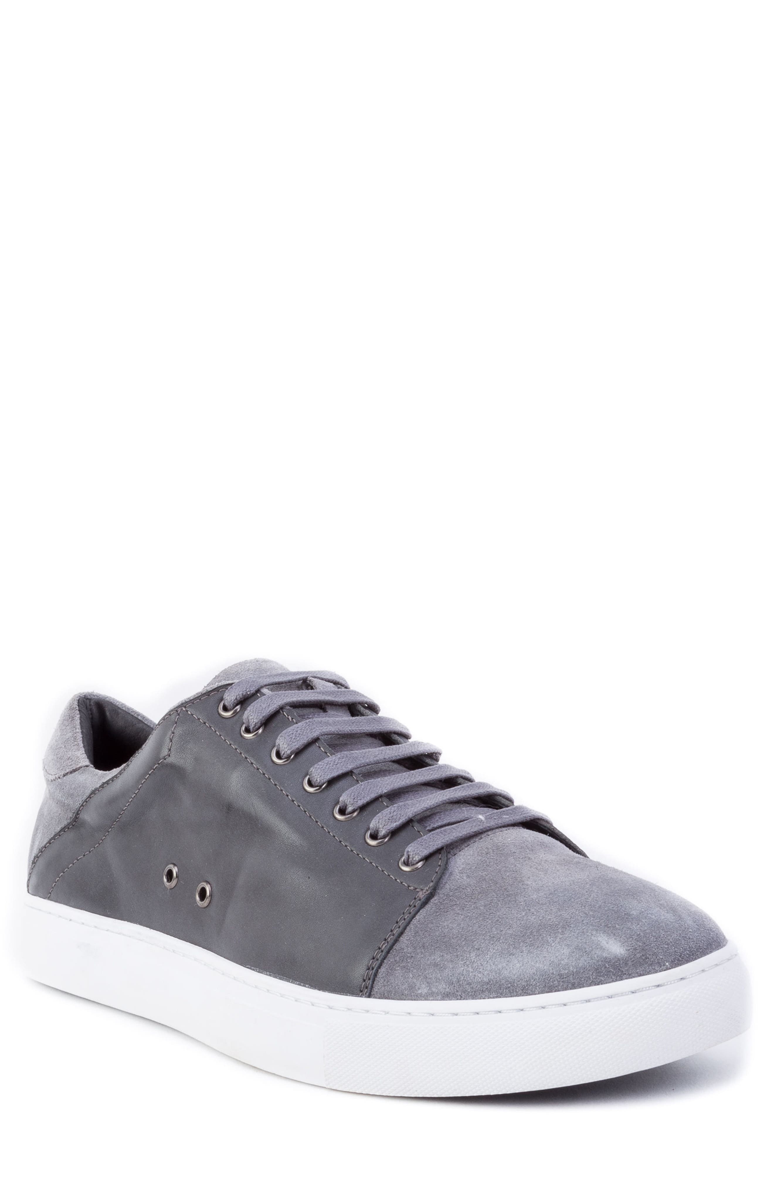 Record Low Top Sneaker,                         Main,                         color, Grey Suede/ Leather