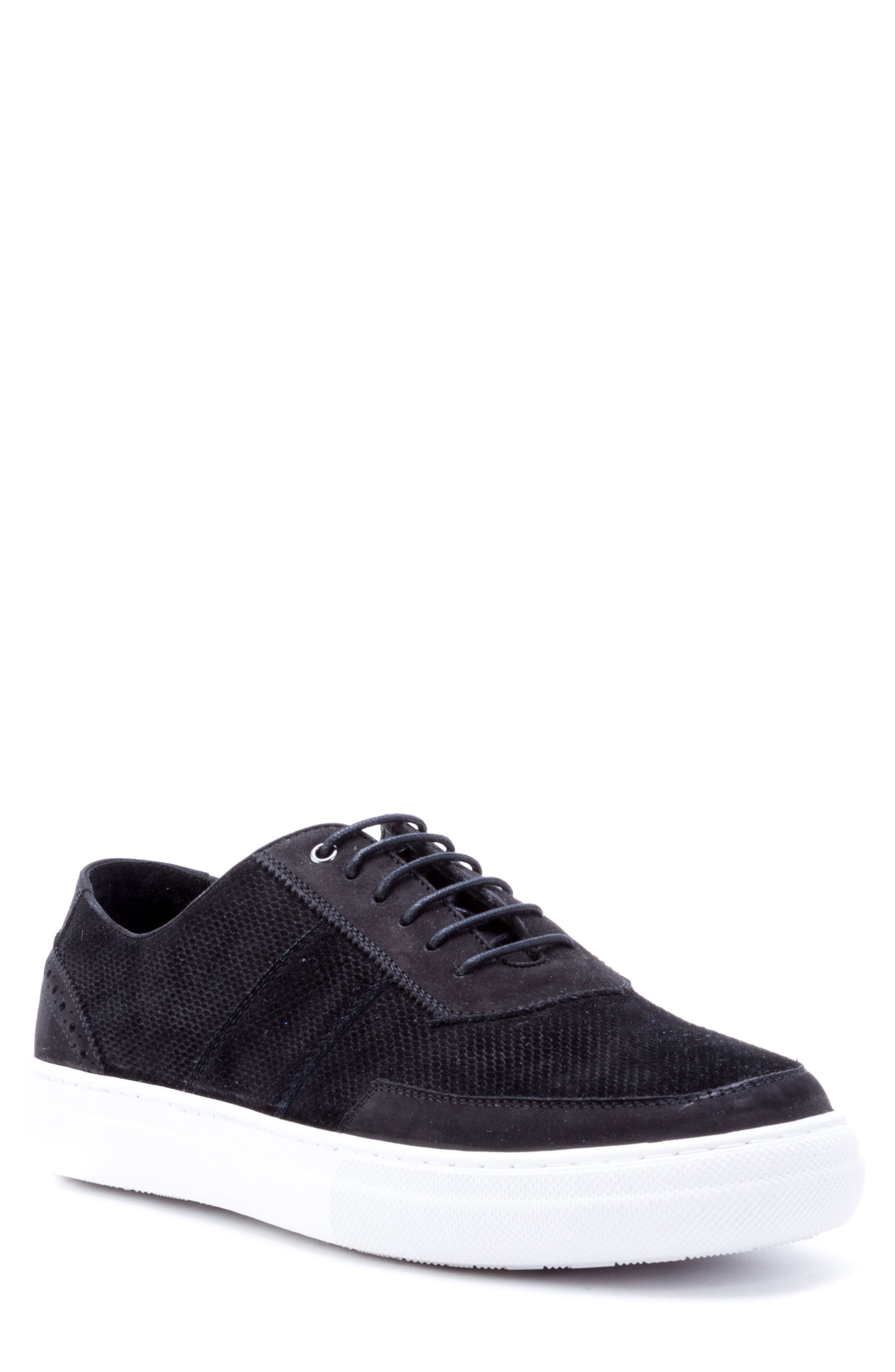 House Low Top Sneaker,                             Main thumbnail 1, color,                             Black Suede/ Leather