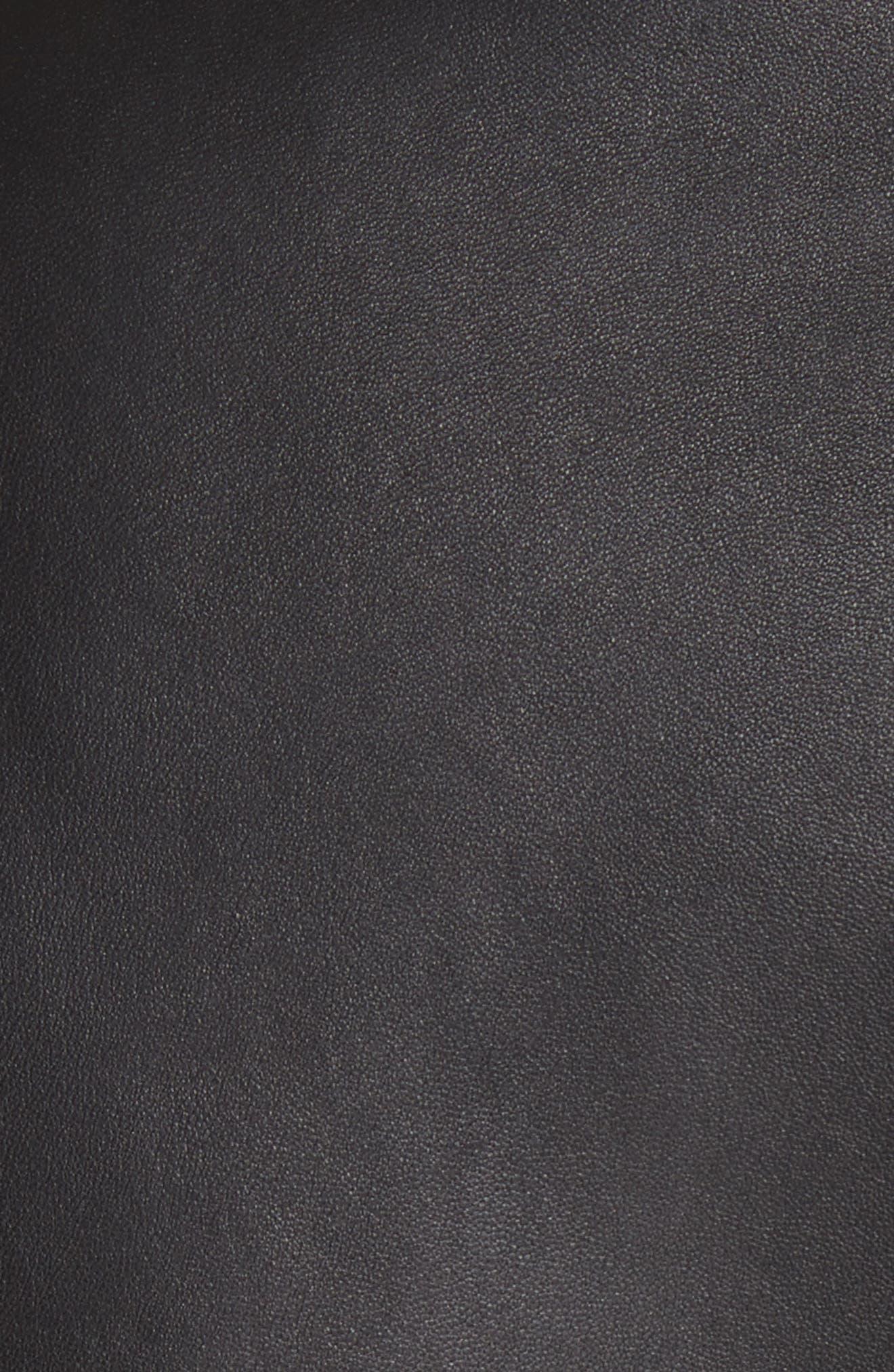 Leather Biker Jacket,                             Alternate thumbnail 5, color,                             Black/ White