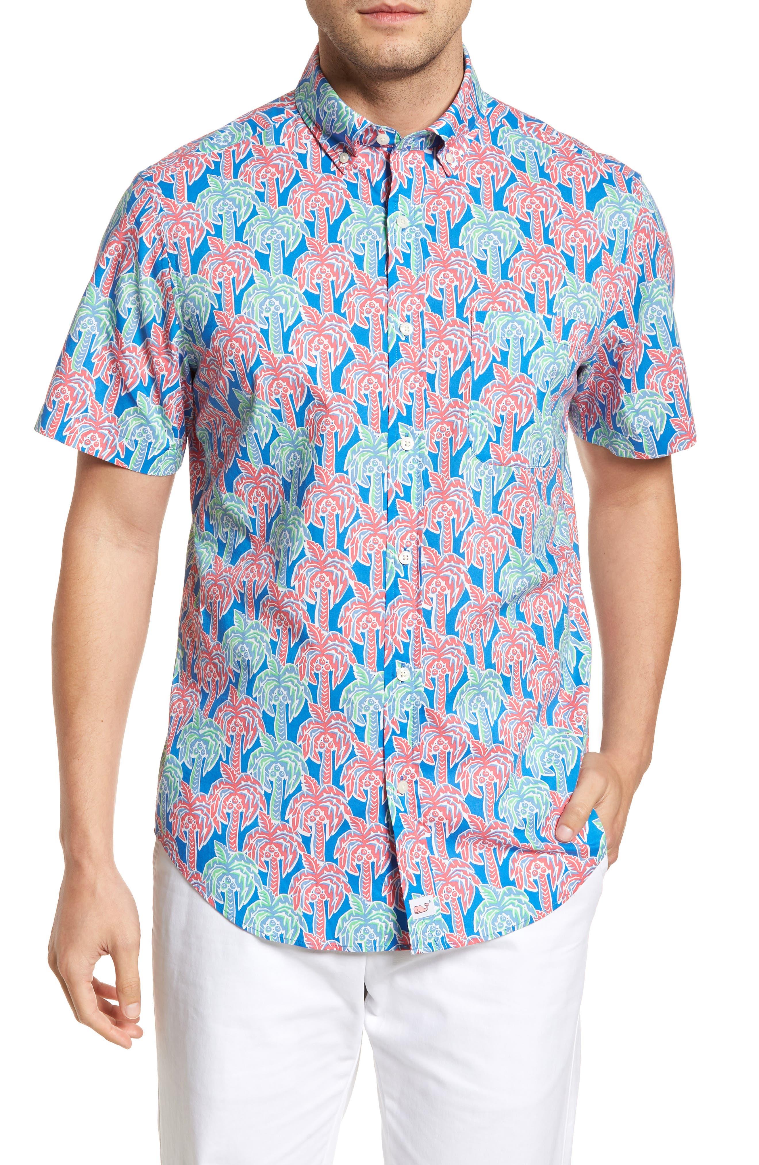 Murray Classic Fit Print Short Sleeve Sport Shirt,                         Main,                         color, Hull Blue