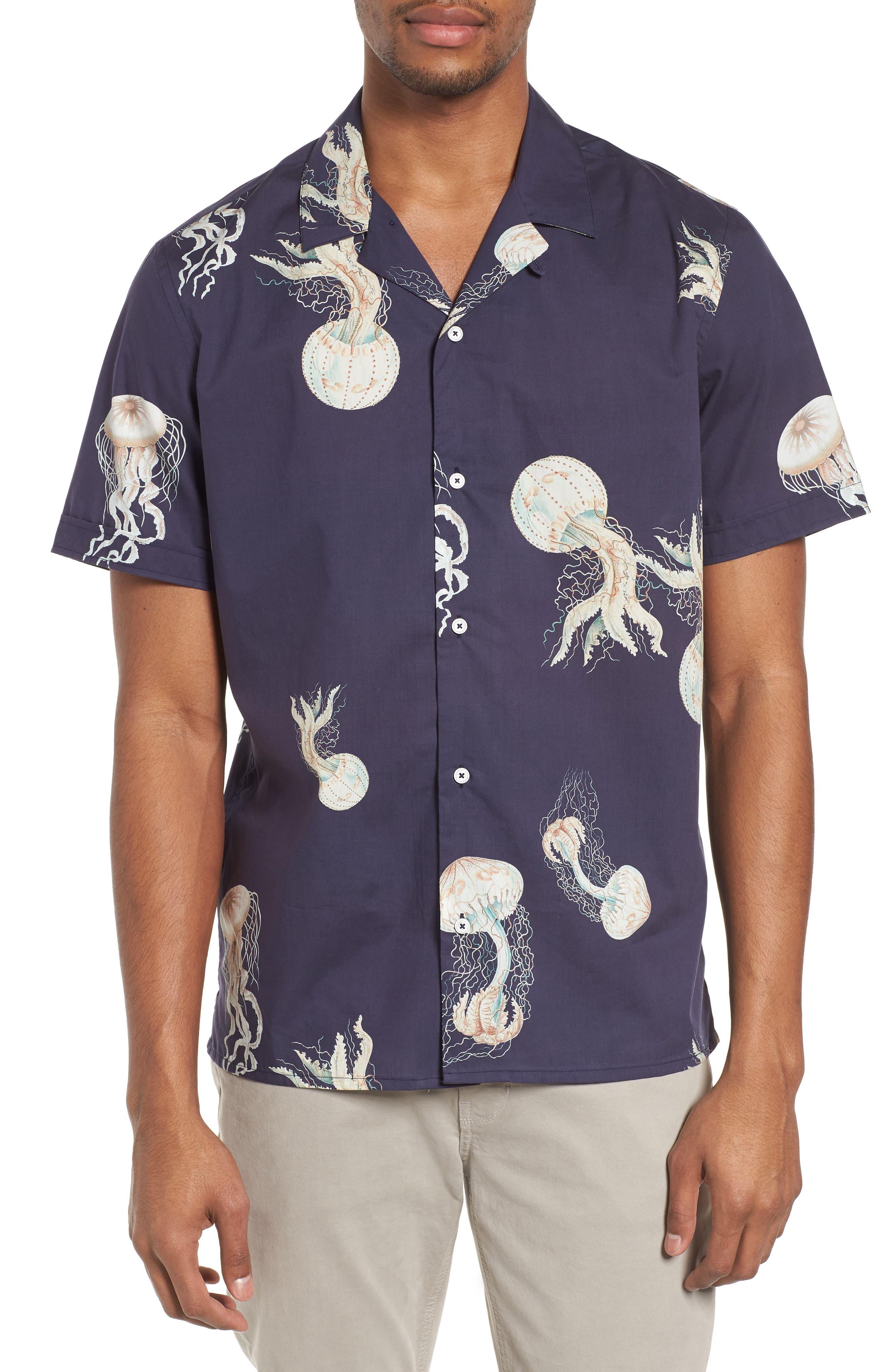 Playa Stripe Oversize Camp Shirt,                         Main,                         color, Jellyfish