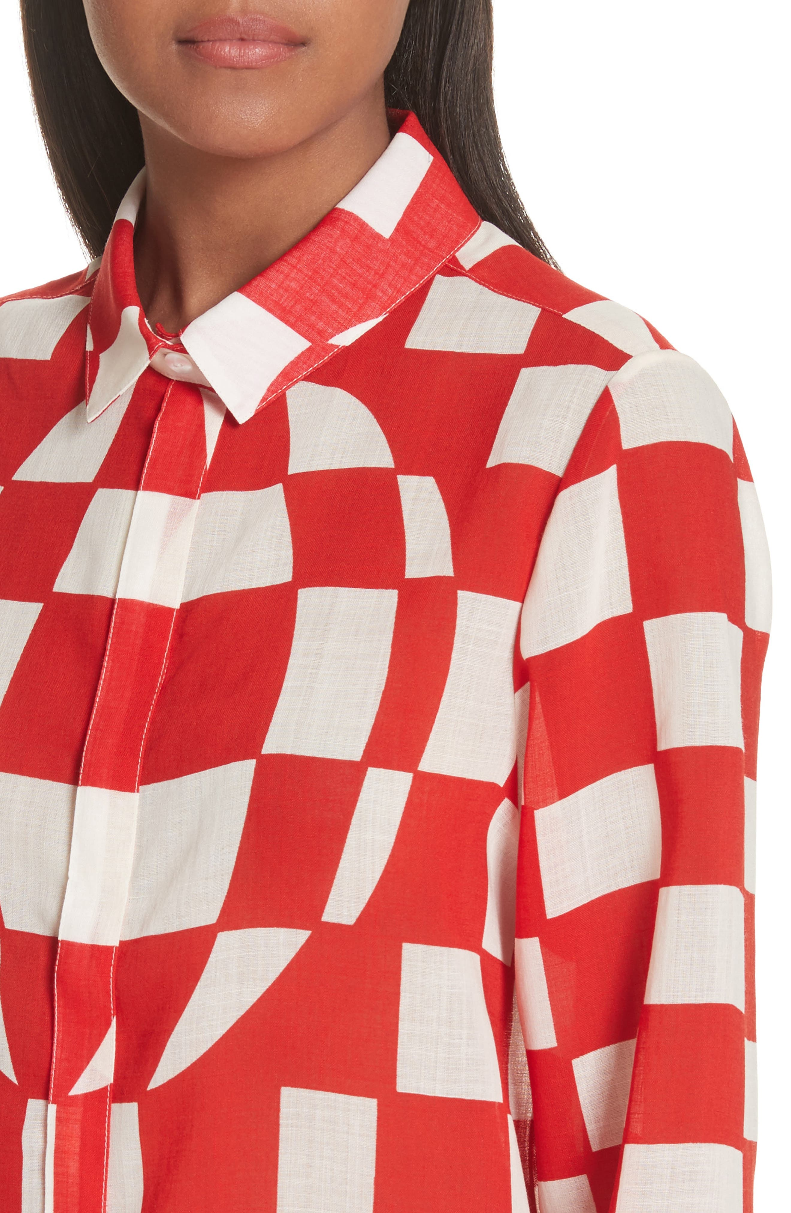 Checkerboard Print Blouse,                             Alternate thumbnail 4, color,                             Pillar Box Red
