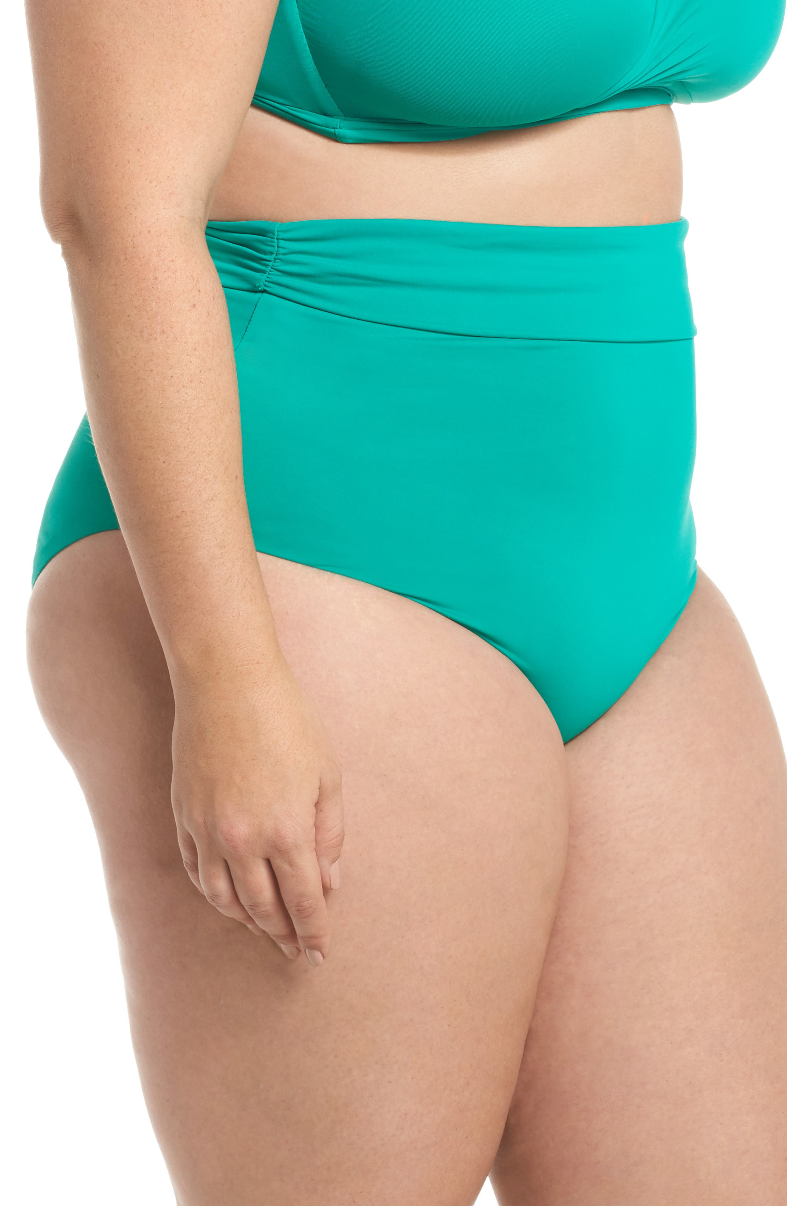 Color Splash High Waist Bikini Bottoms,                             Alternate thumbnail 3, color,                             Emerald