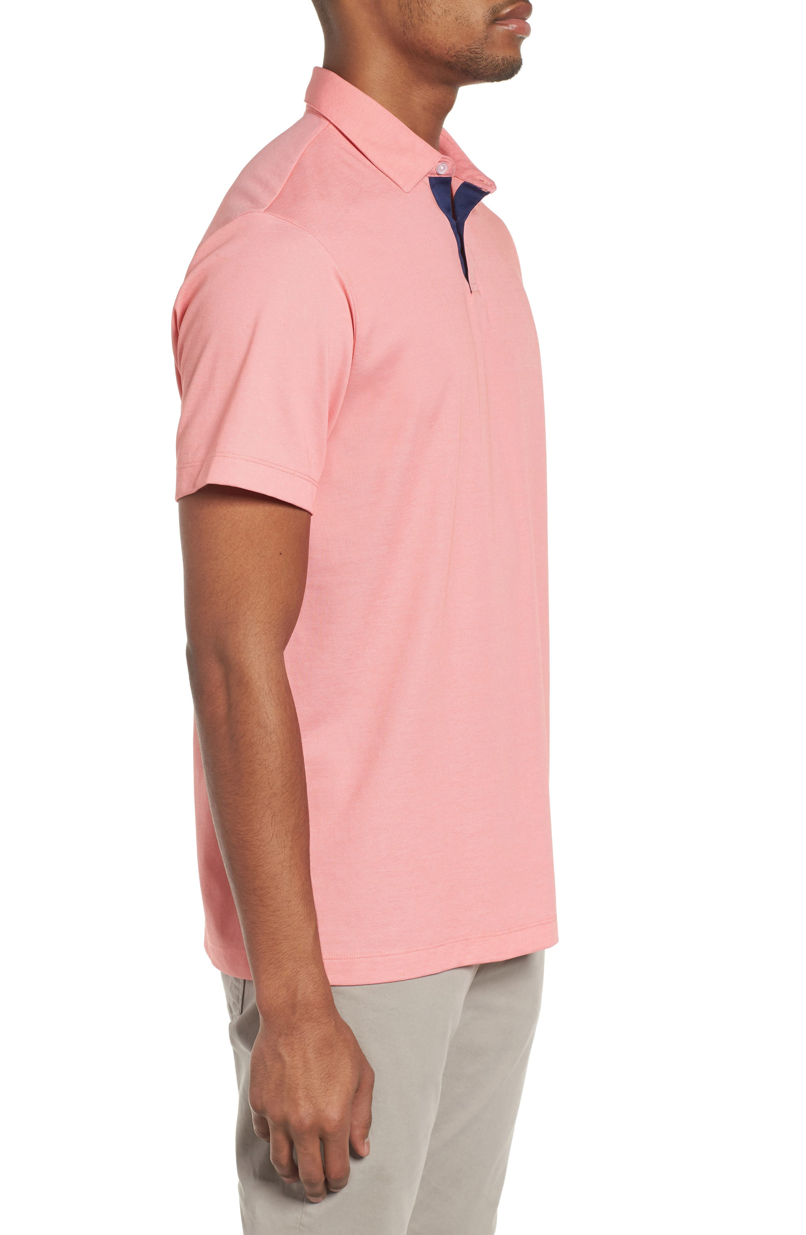 Andrew Regular Fit Piqué Polo,                             Alternate thumbnail 3, color,                             Coral