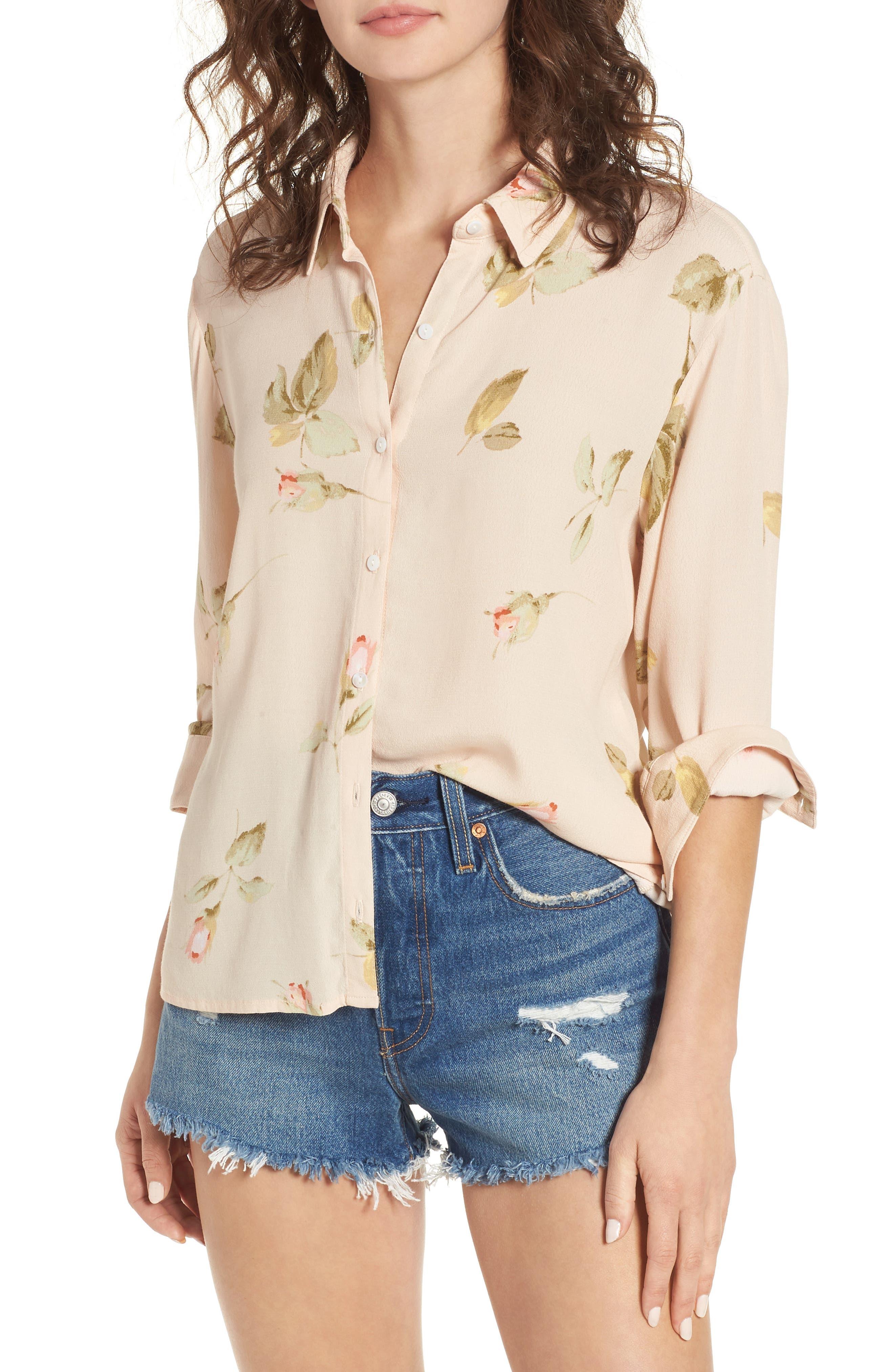 Sinclair Floral Print Shirt,                             Main thumbnail 1, color,                             Taupe Multi