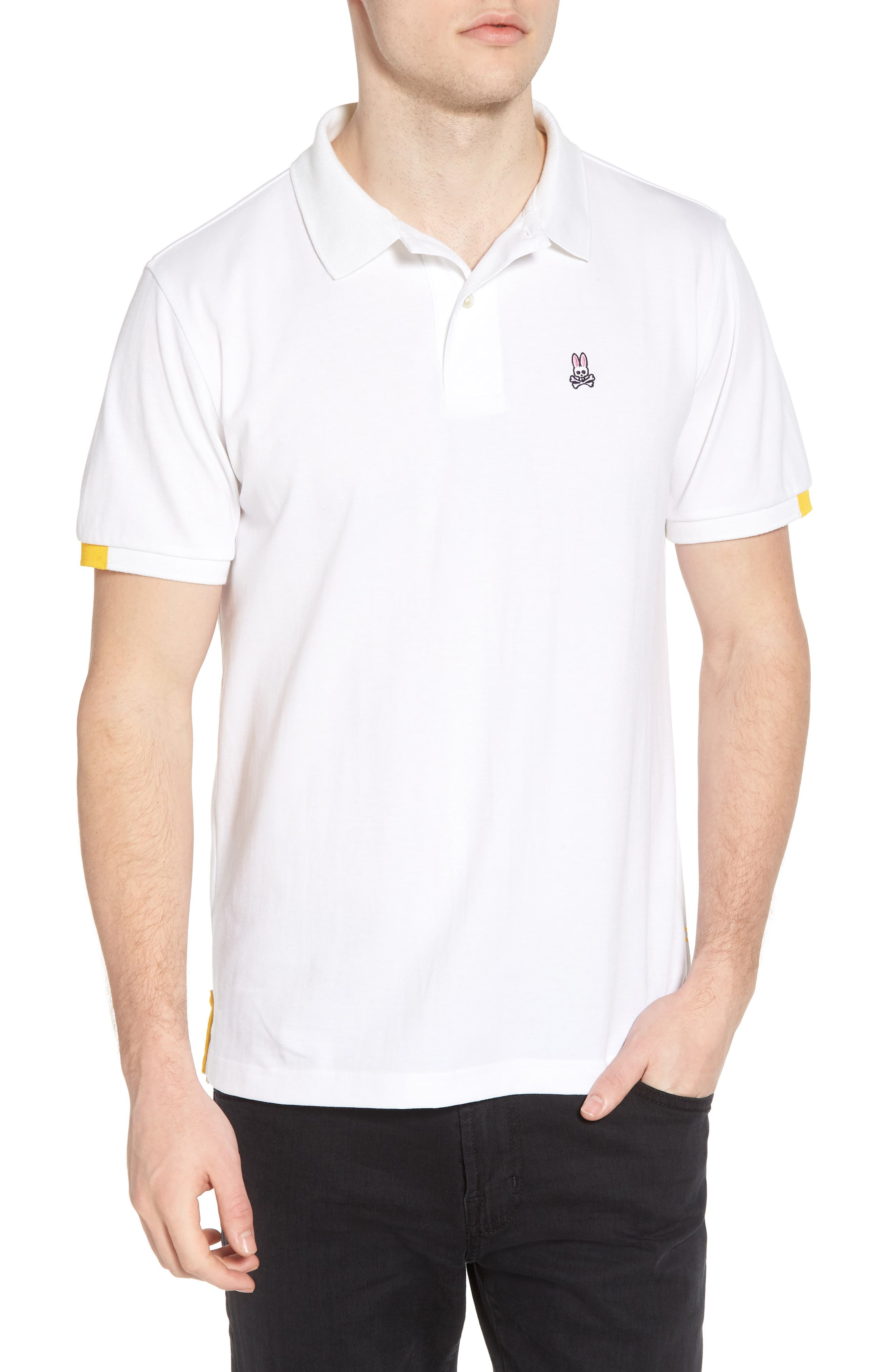Neon Tipped Golf Polo,                         Main,                         color, White