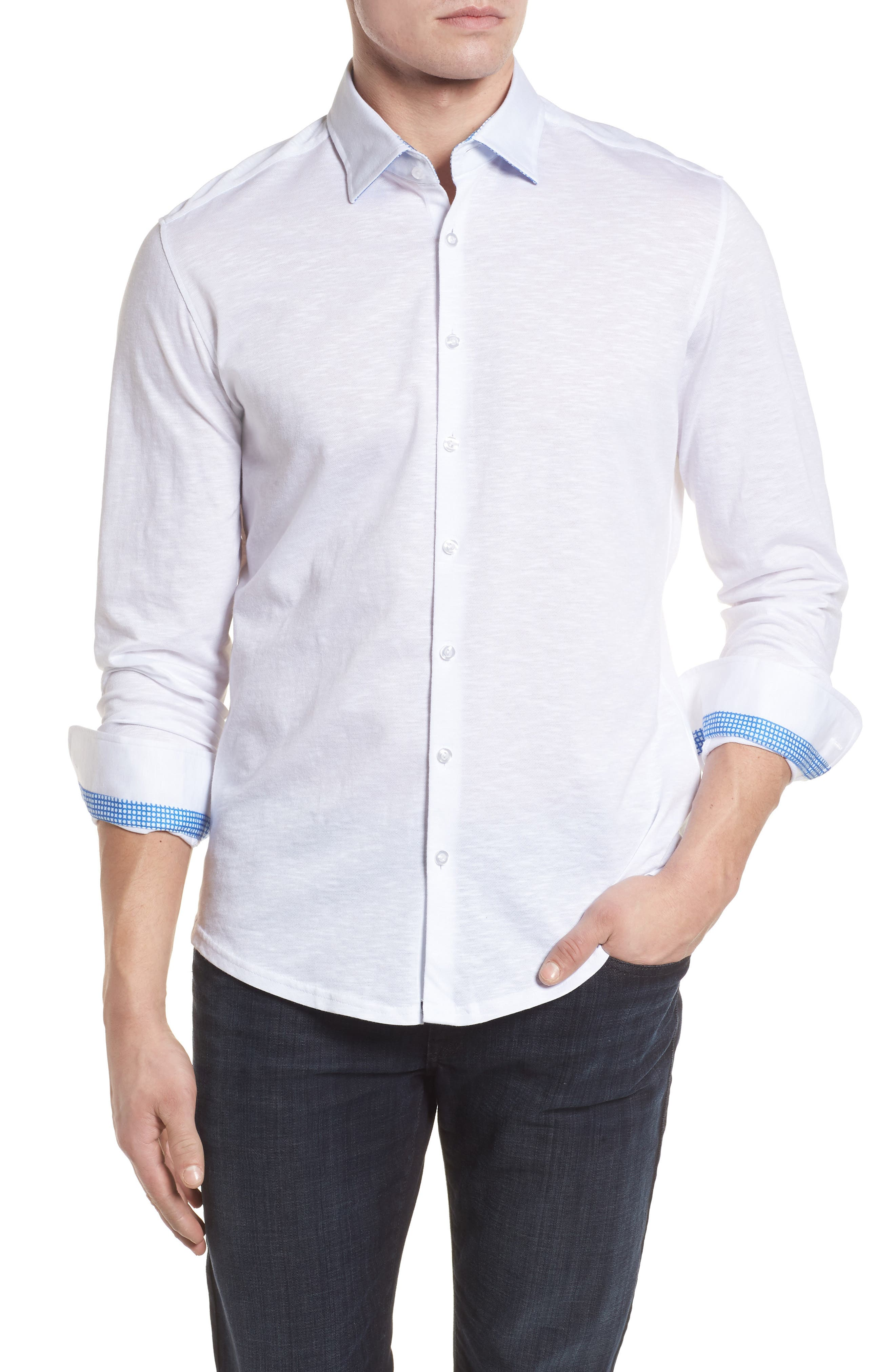 Flame Contemporary Fit Sport Shirt,                             Main thumbnail 1, color,                             White