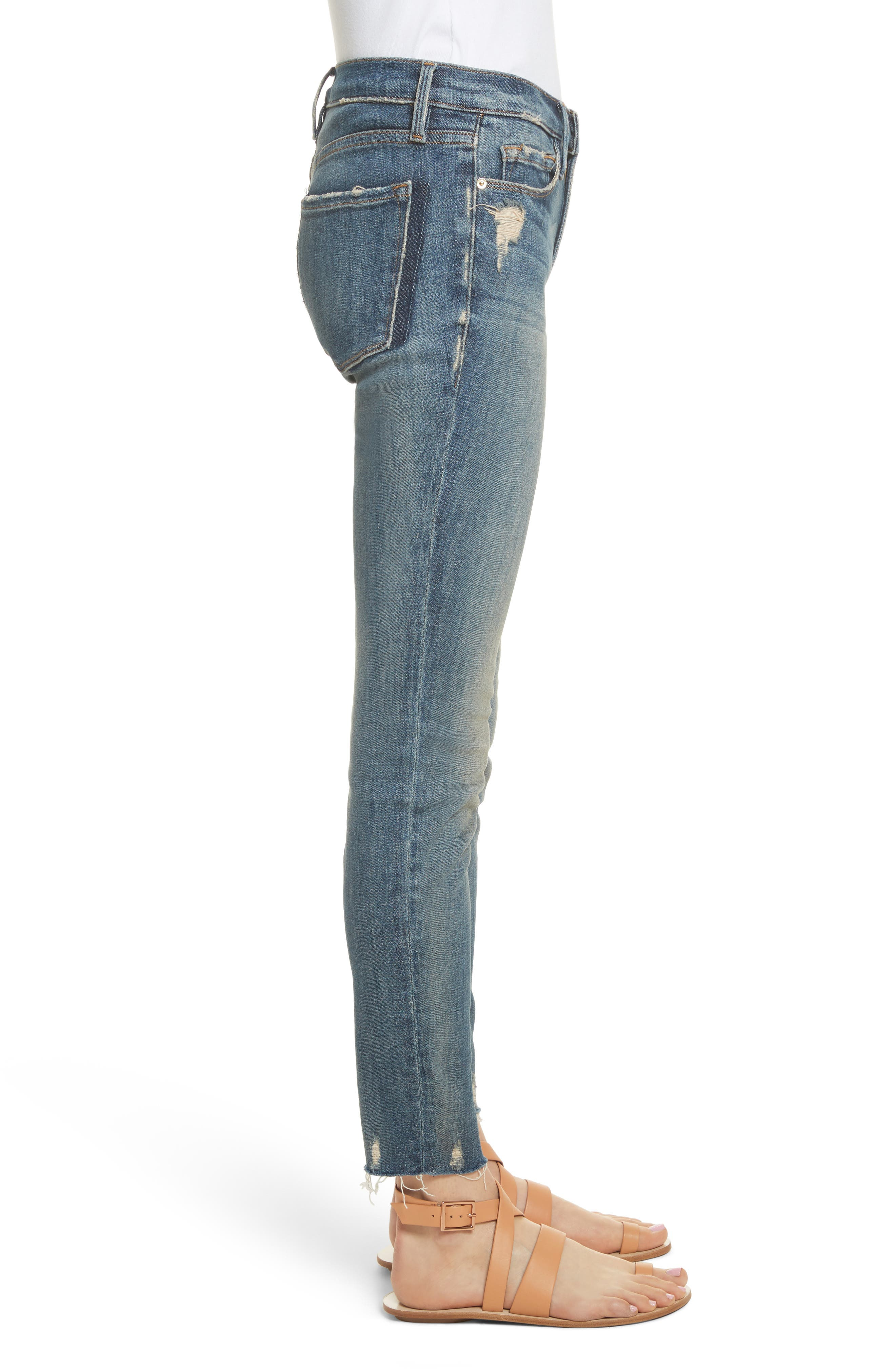 Le Skinny de Jeanne Raw Edge Skinny Jeans,                             Alternate thumbnail 3, color,                             Victoria Park