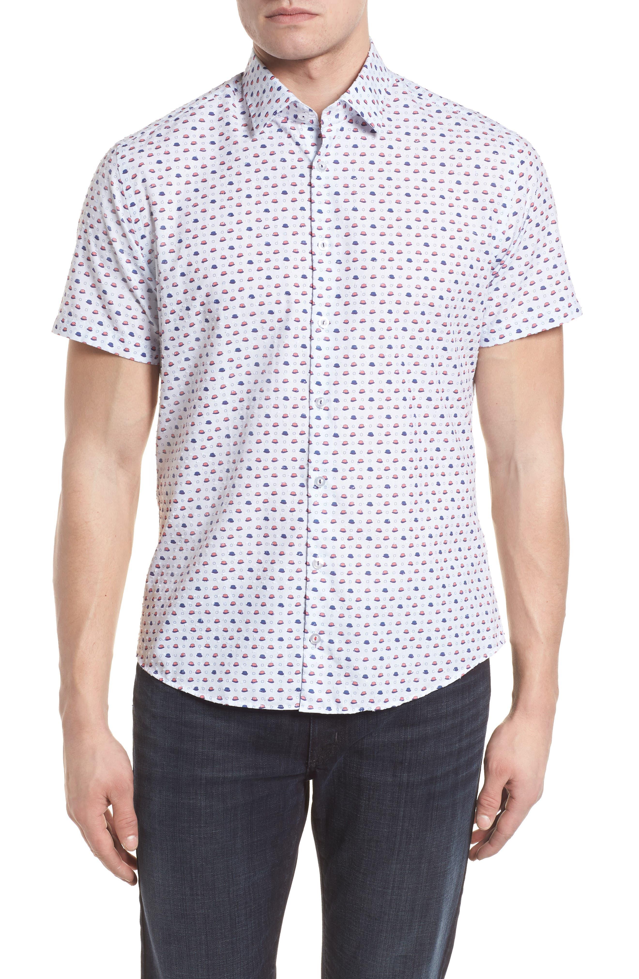 Contemporary Fit Bowler Hat Print Sport Shirt,                             Main thumbnail 1, color,                             White