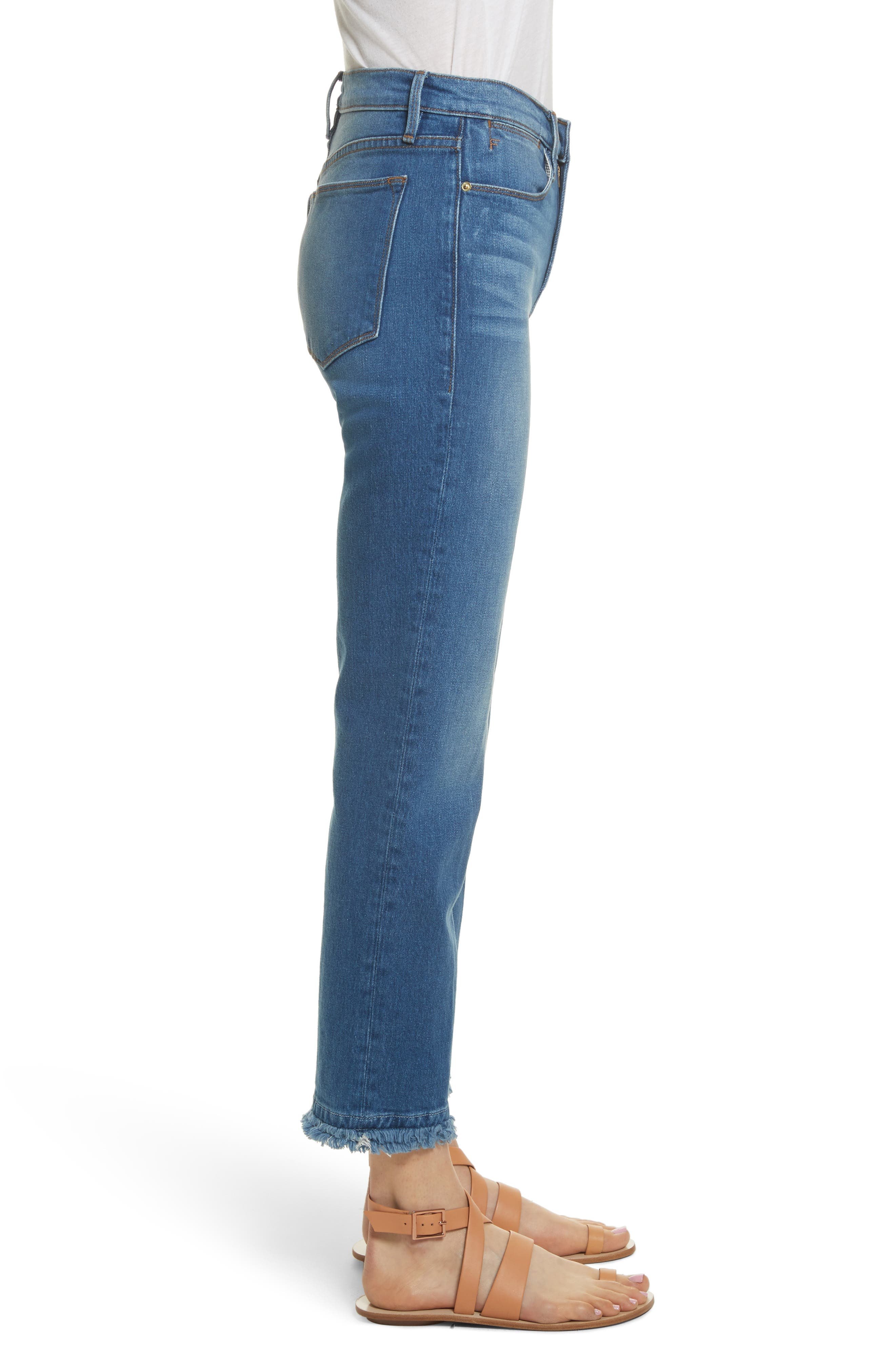Le High Double Raw Edge High Waist Jeans,                             Alternate thumbnail 3, color,                             Whitway
