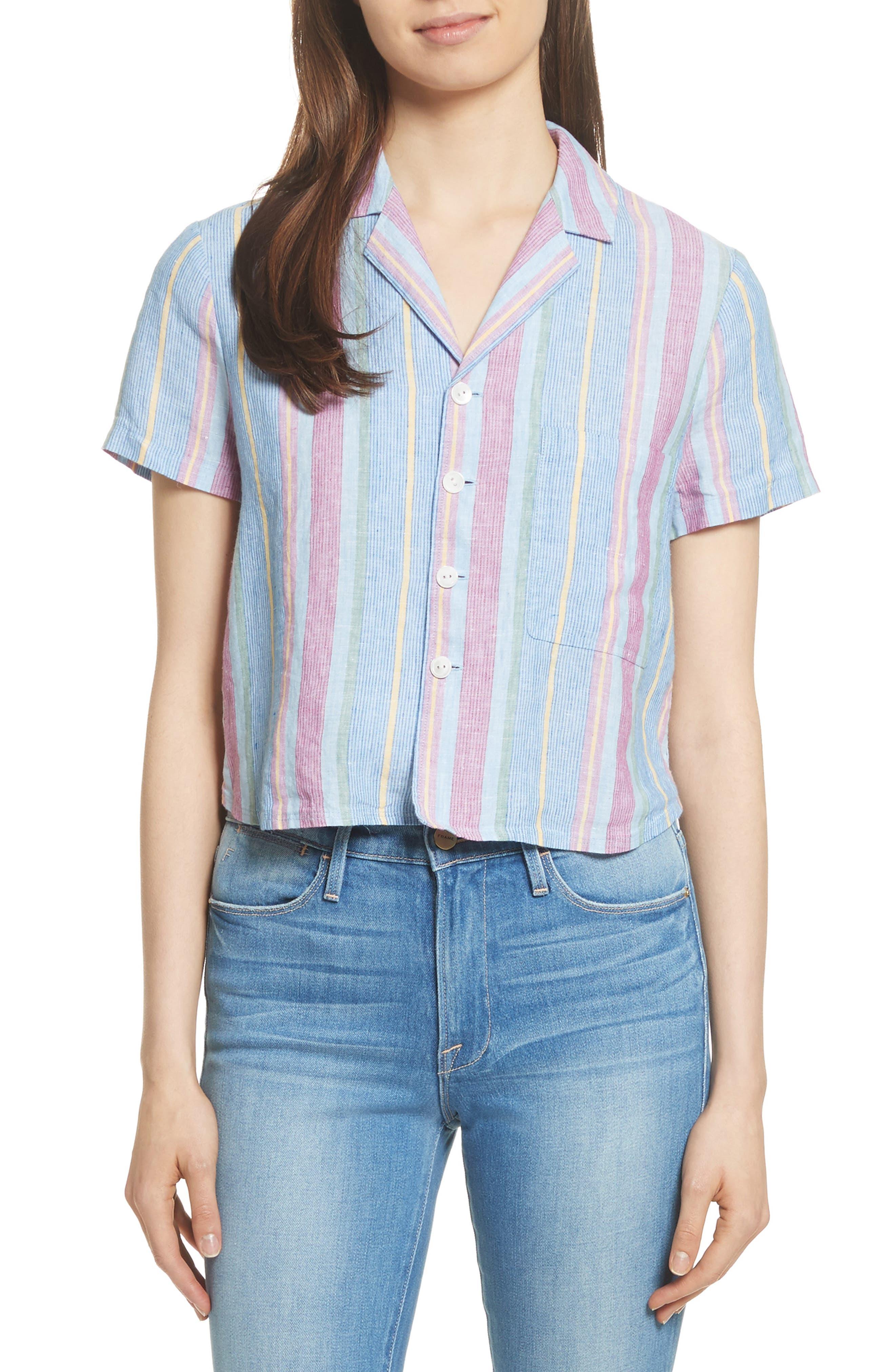 FRAME Stripe High/Low Linen Shirt