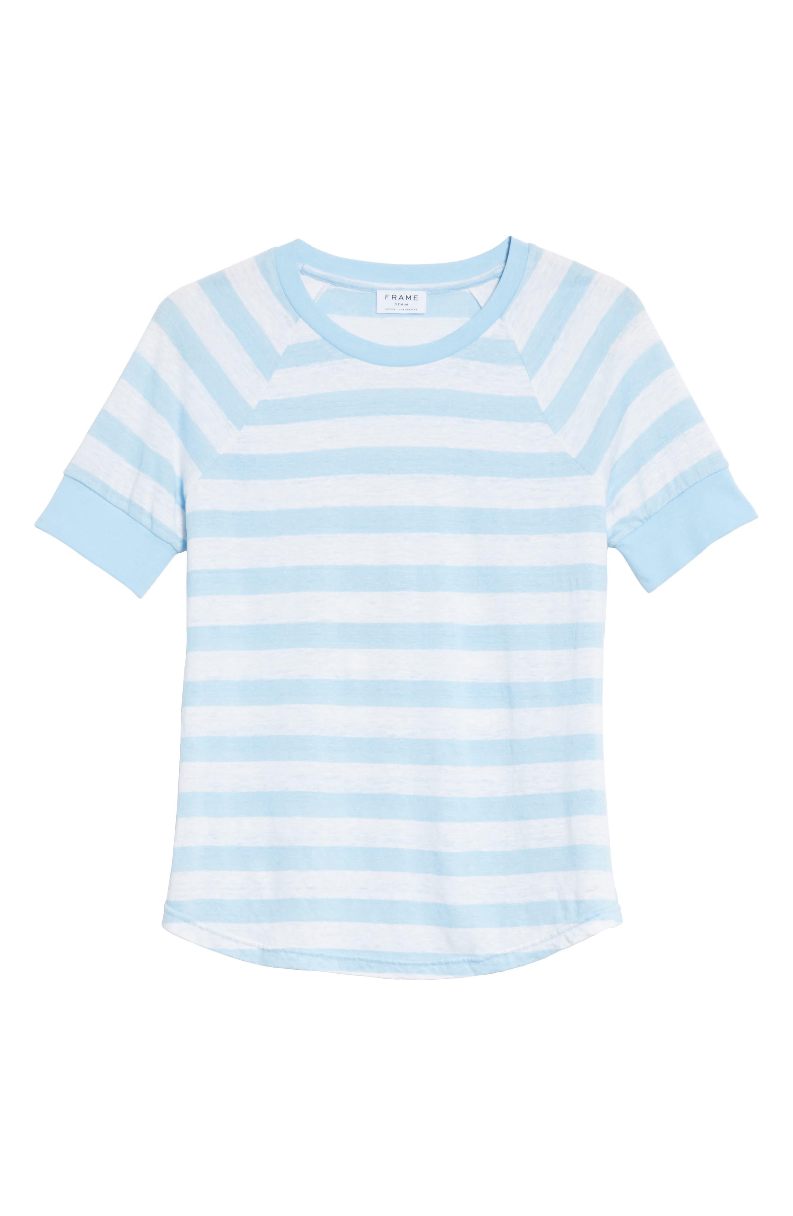 Stripe Raglan Linen Tee,                             Alternate thumbnail 6, color,                             Blanc Multi
