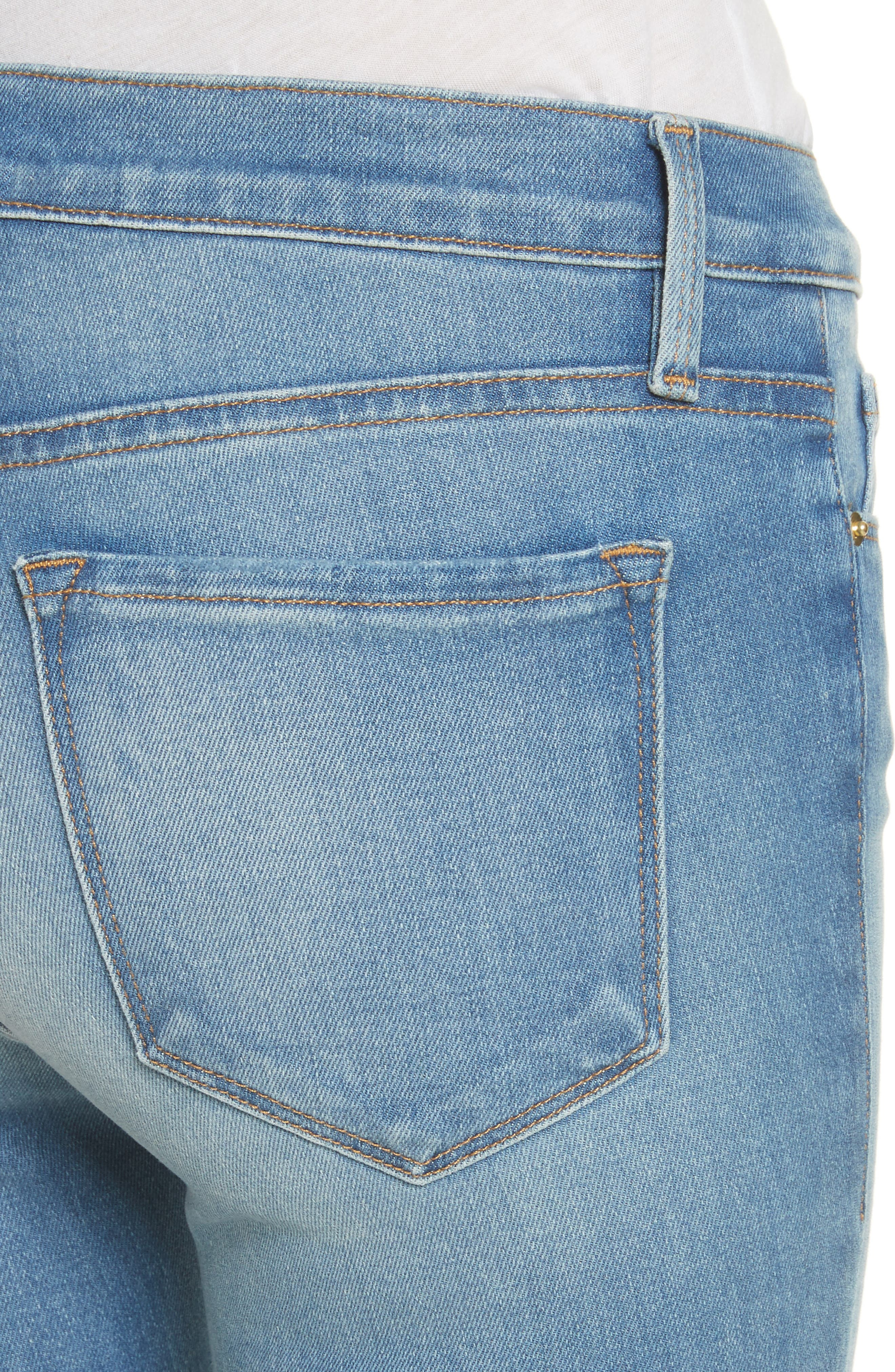 Le Skinny de Jeanne Raw Edge Crop Skinny Jeans,                             Alternate thumbnail 4, color,                             Stanwell