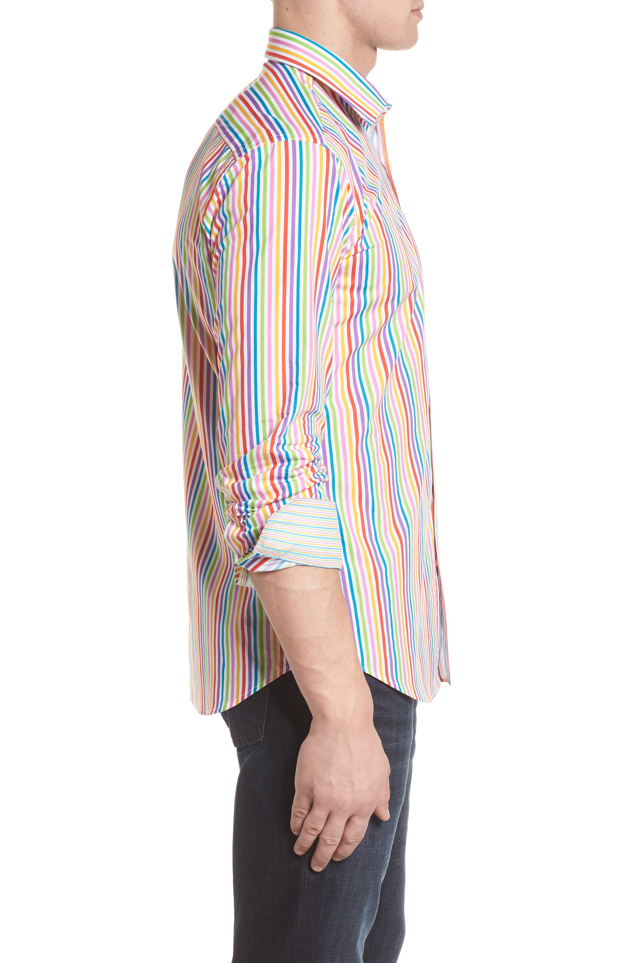 Classic Fit Woven Sport Shirt,                             Alternate thumbnail 3, color,                             Candy