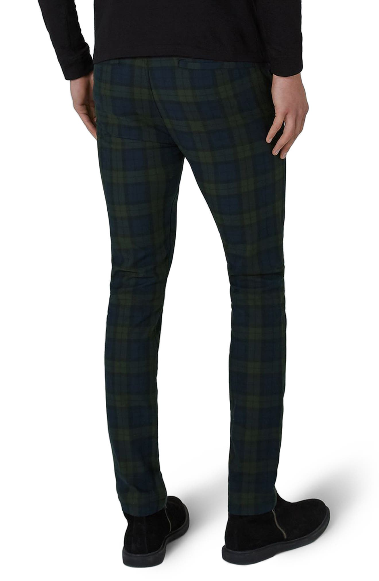 Alternate Image 2  - Topman Black Watch Check Stretch Skinny Fit Trousers
