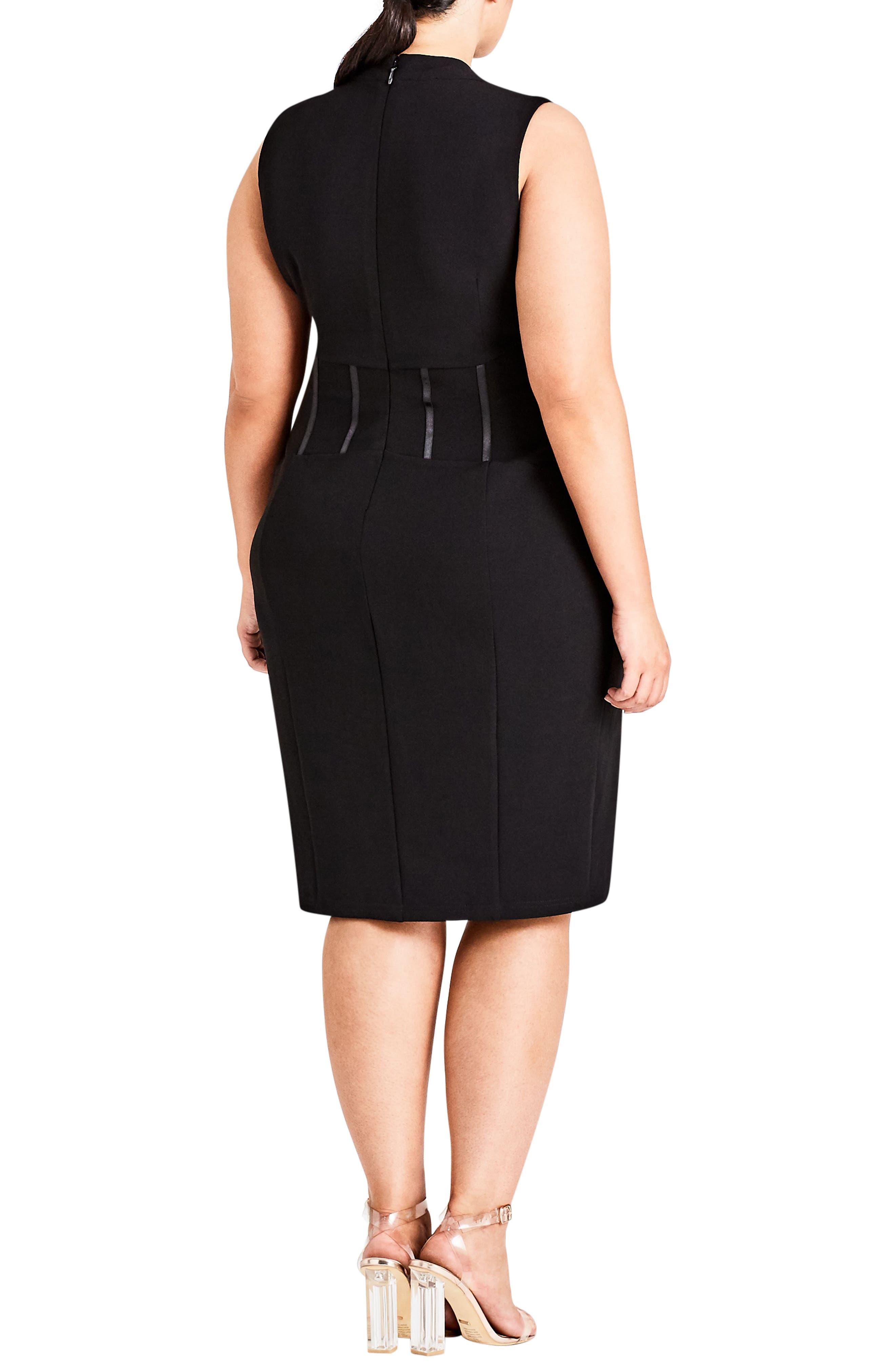 Corset Body-Con Dress,                             Alternate thumbnail 2, color,                             Black