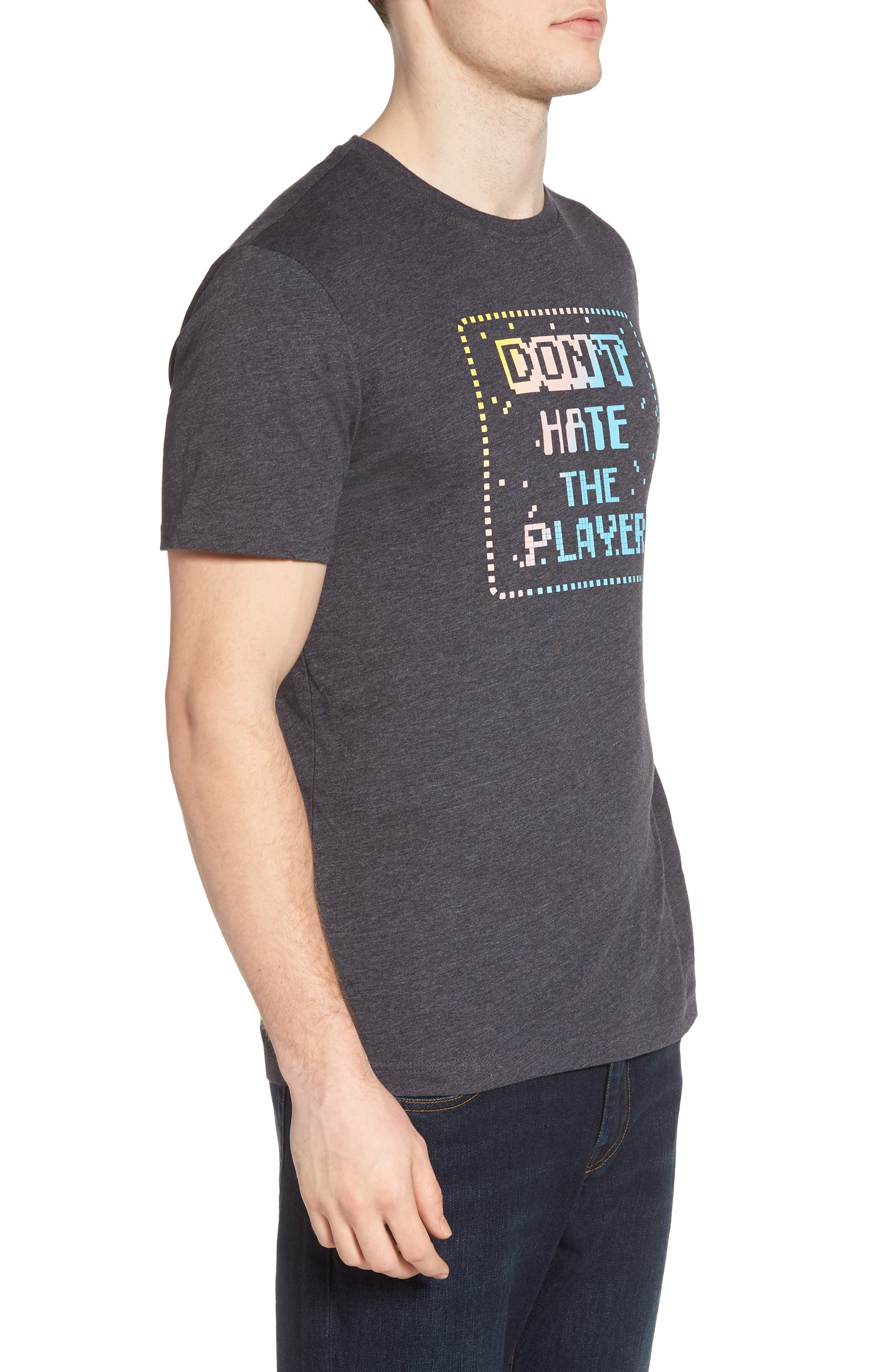 Don't Hate the Player T-Shirt,                             Alternate thumbnail 3, color,                             Charcoal