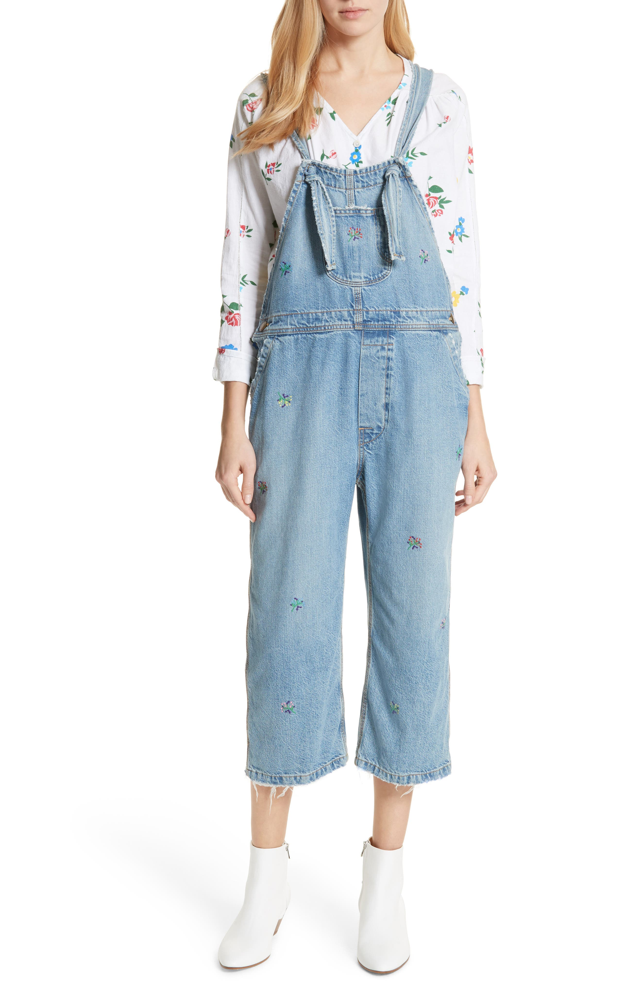 The Shop Embroidered Overalls,                             Main thumbnail 1, color,                             Canteen Wash W/ Flower Emb